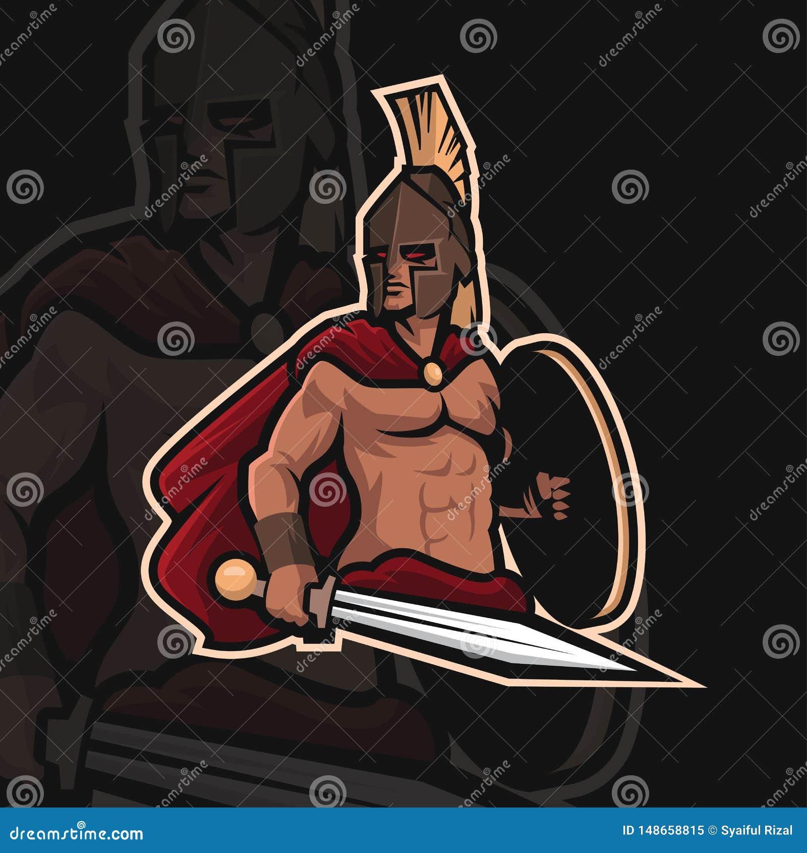 Logo spartiate de sport du guerrier e