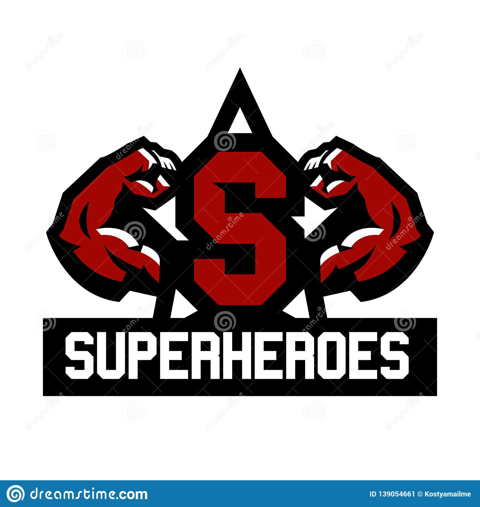 Logo superhero. Muscular arms. The letter in the middle of the star. Vector illustration. Flat style