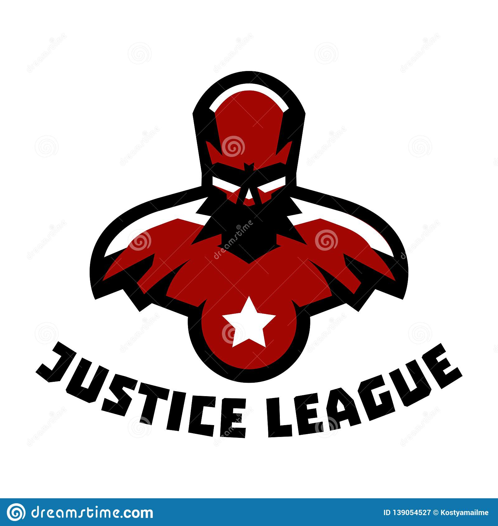 Logo superhero. Superman costume. Justice League. Muscular body. Vector illustration. Flat style