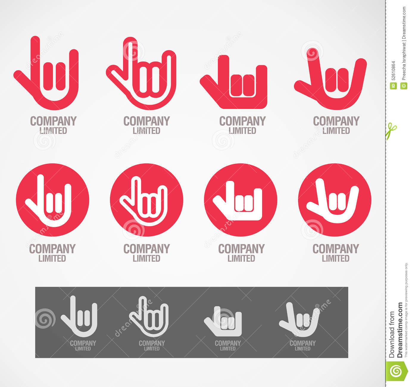 logo and symbol design rock hand and love hand stock