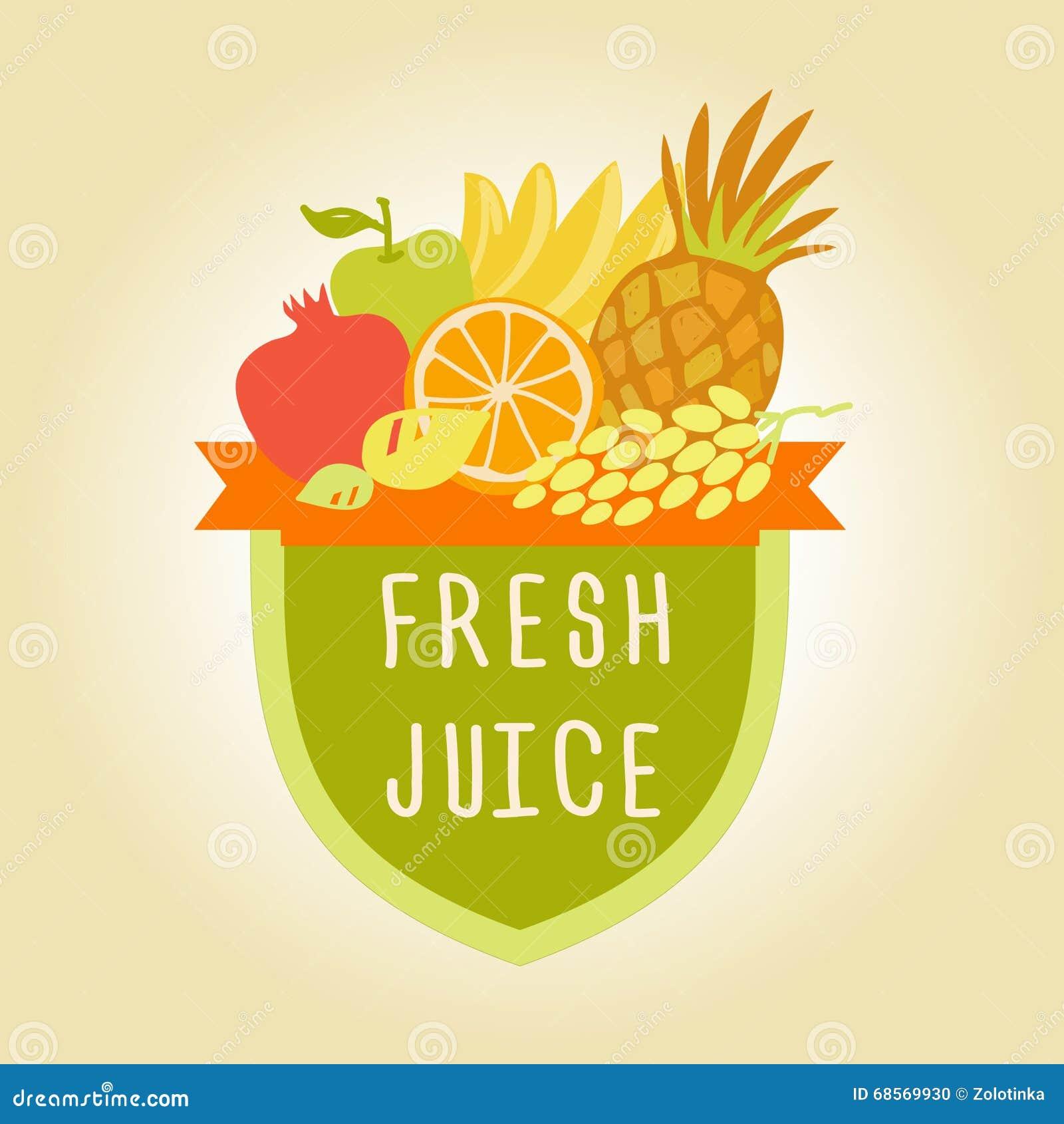 logo symbol for fresh juice hand drawn fruit design stock