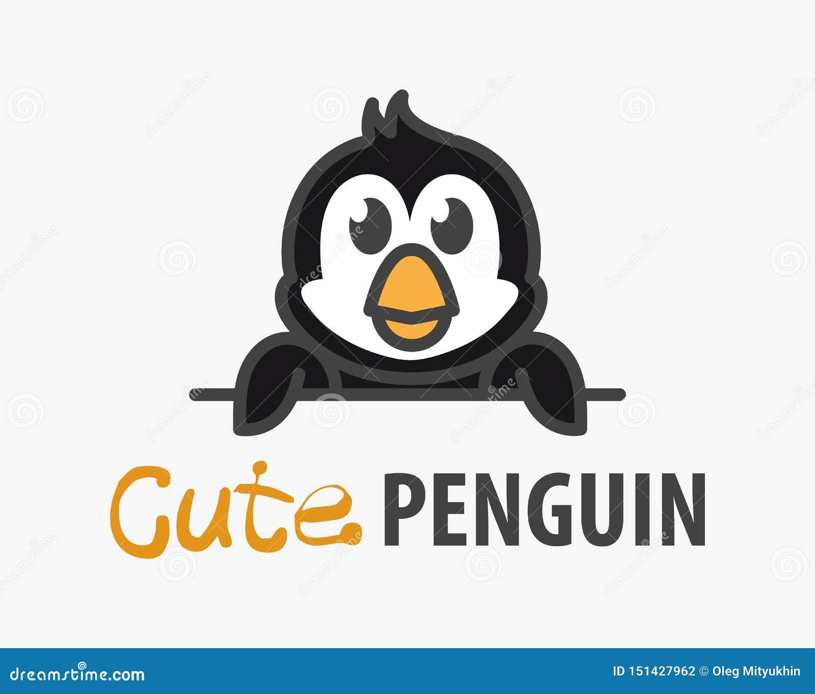 Logo szablon z ślicznym pingwinem Wektorowy logo projekta szablon dla zoo, weterynaryjne kliniki, lody sklep Kreskówki Antarktycz