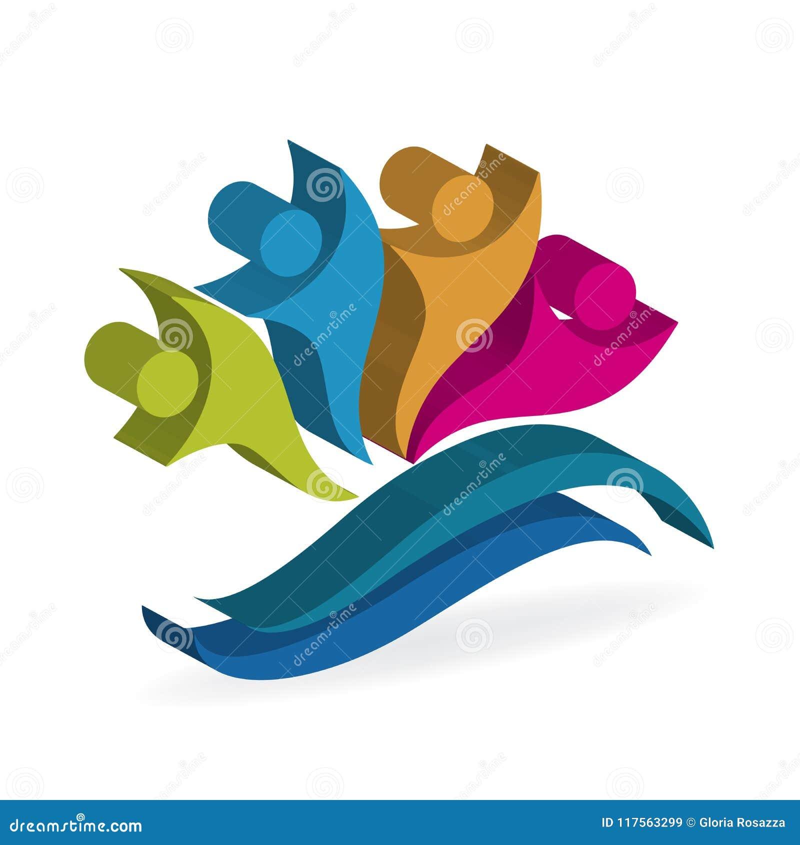 Logo szczęśliwej pracy zespołowej 3D wizerunku wektorowego ilustracyjnego kolorowego projekta optymistycznie ludzie