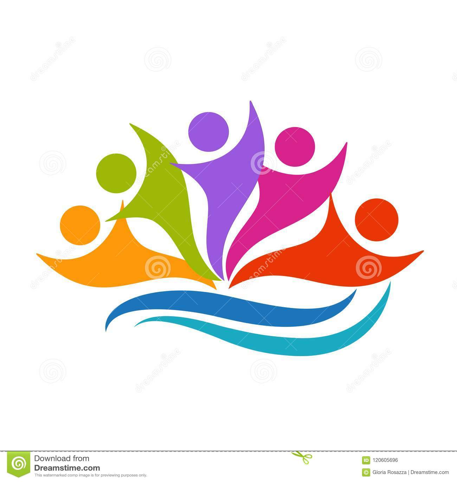 Logo szczęśliwej pracy zespołowej optymistycznie ludzie wokoło wektoru