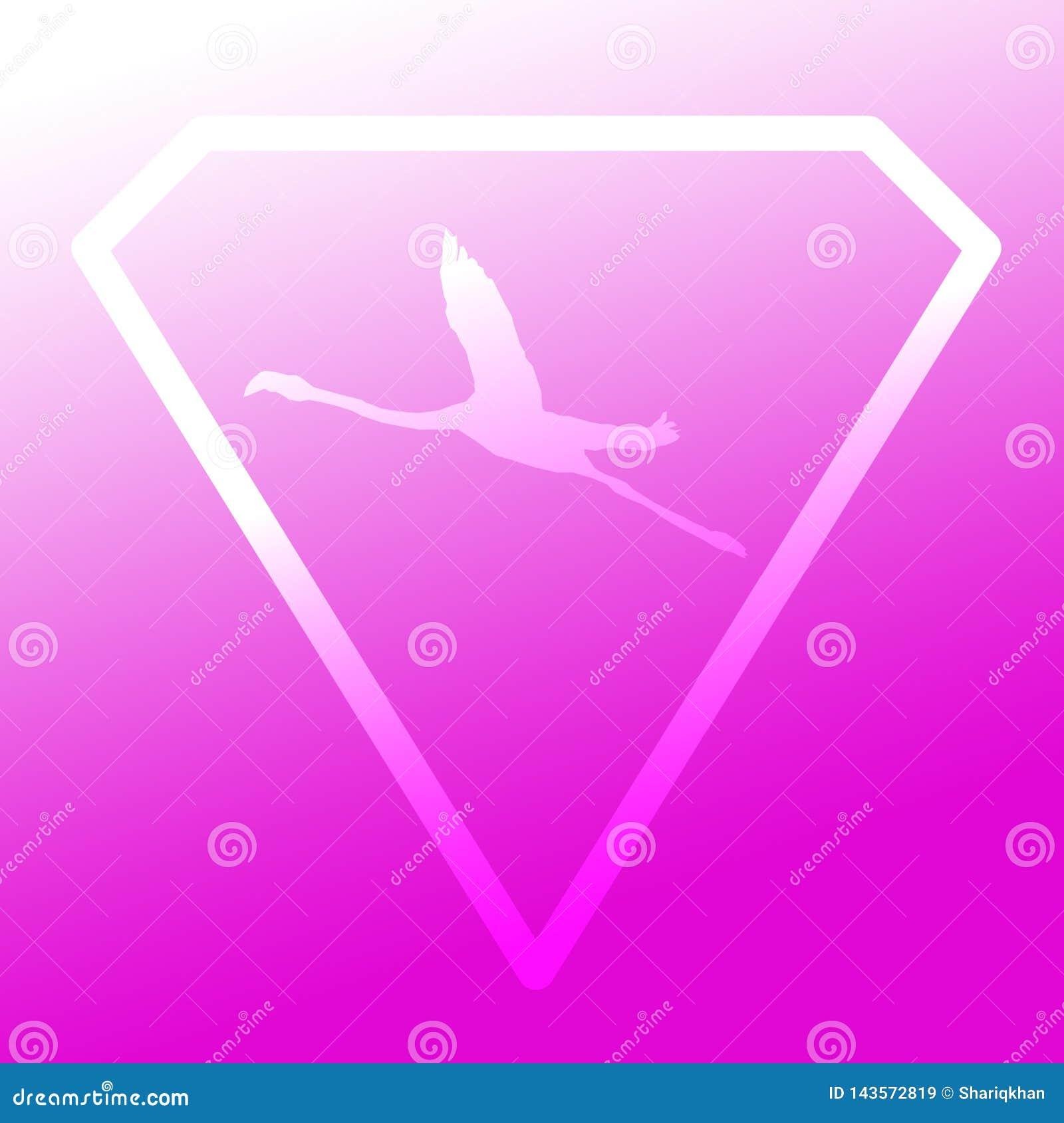 Logo sztandaru wizerunku Latającego ptaka flaming w Diamentowym kształcie na Magenta tle
