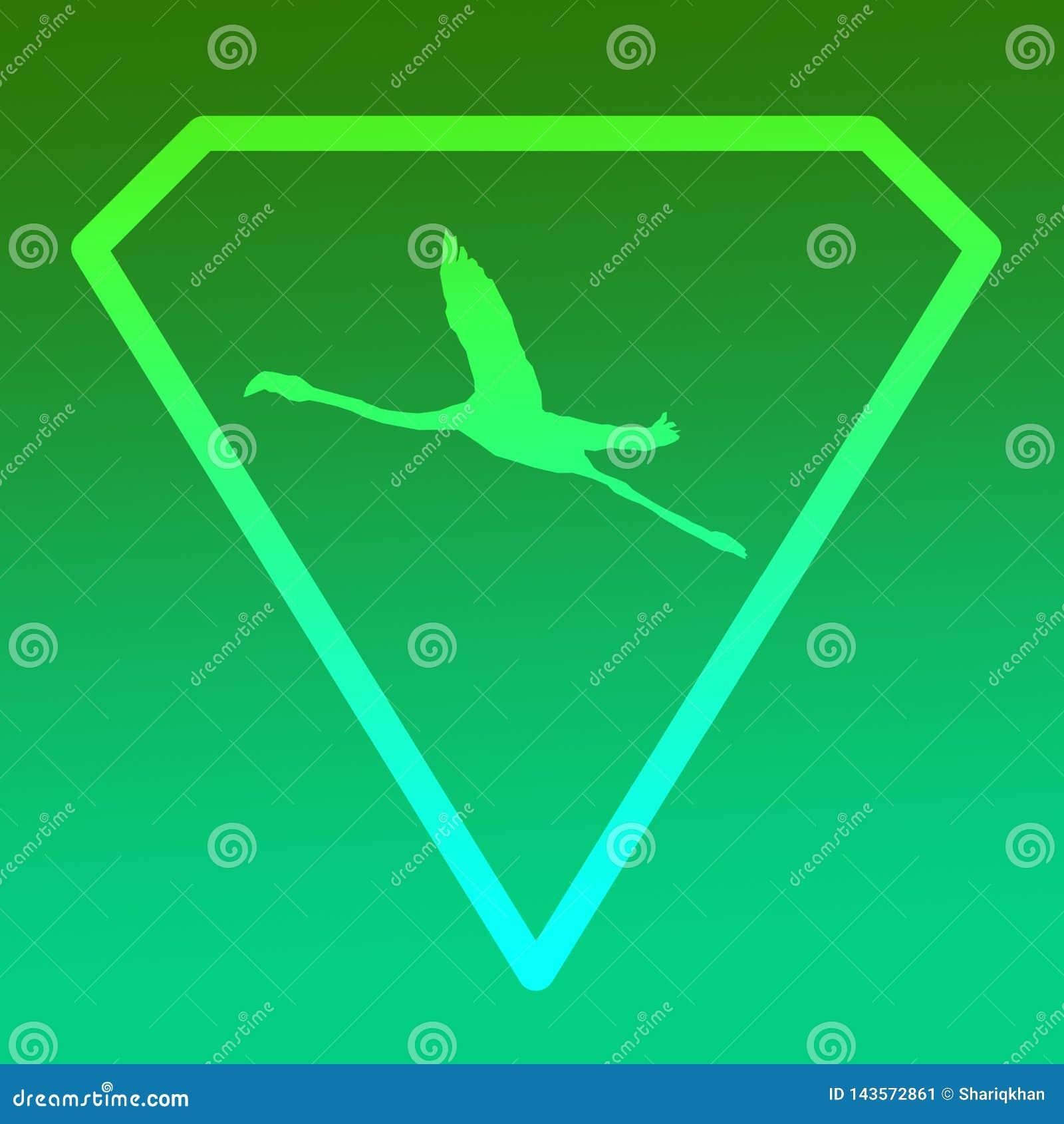 Logo sztandaru wizerunku Latającego ptaka flaming w Diamentowym kształcie na Zielonym tle