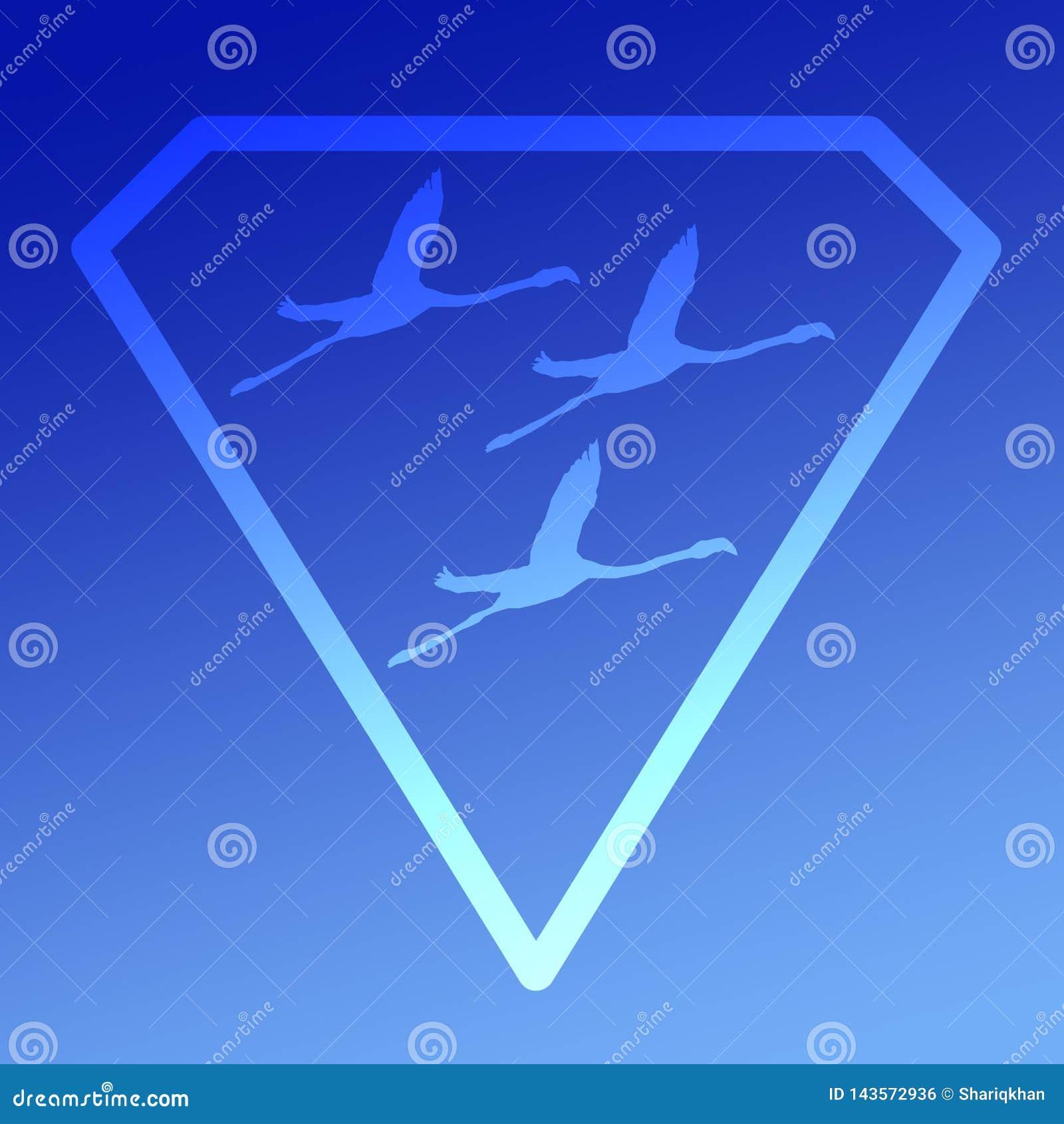 Logo sztandaru wizerunku Lataj?cego ptaka flaming w Diamentowym kszta?cie na B??kitnym tle