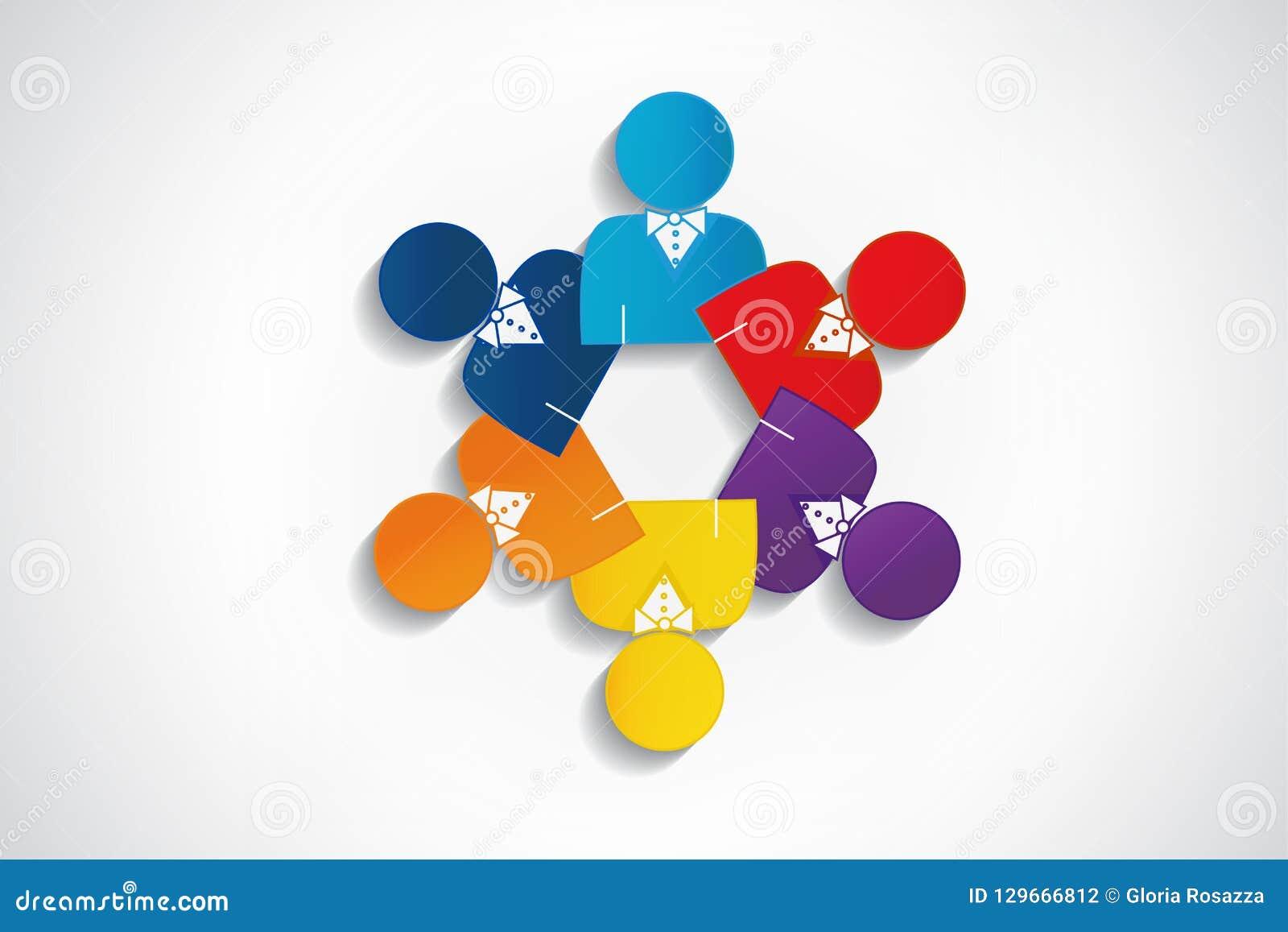 Logo Teamwork Manager Meeting People Design Stock Vector Illustration Of Community Embraced 129666812