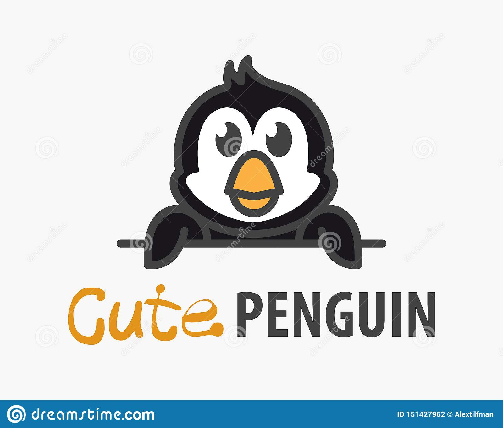 Logo template with cute penguin. Vector logo design template for zoo, veterinary clinics, ice cream shop. Cartoon Antarctic animal