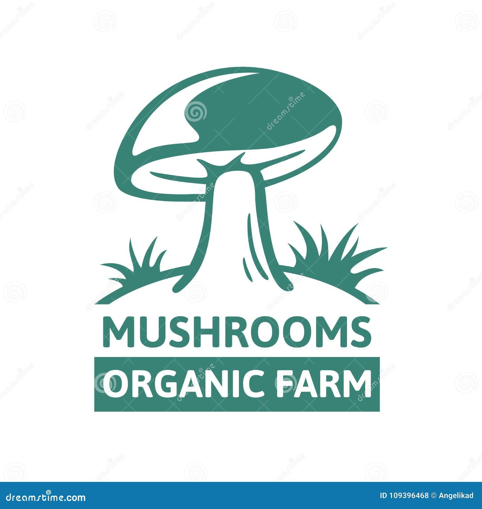 Logo Template Design Porcini Organic Mushroom Farm Stock Vector