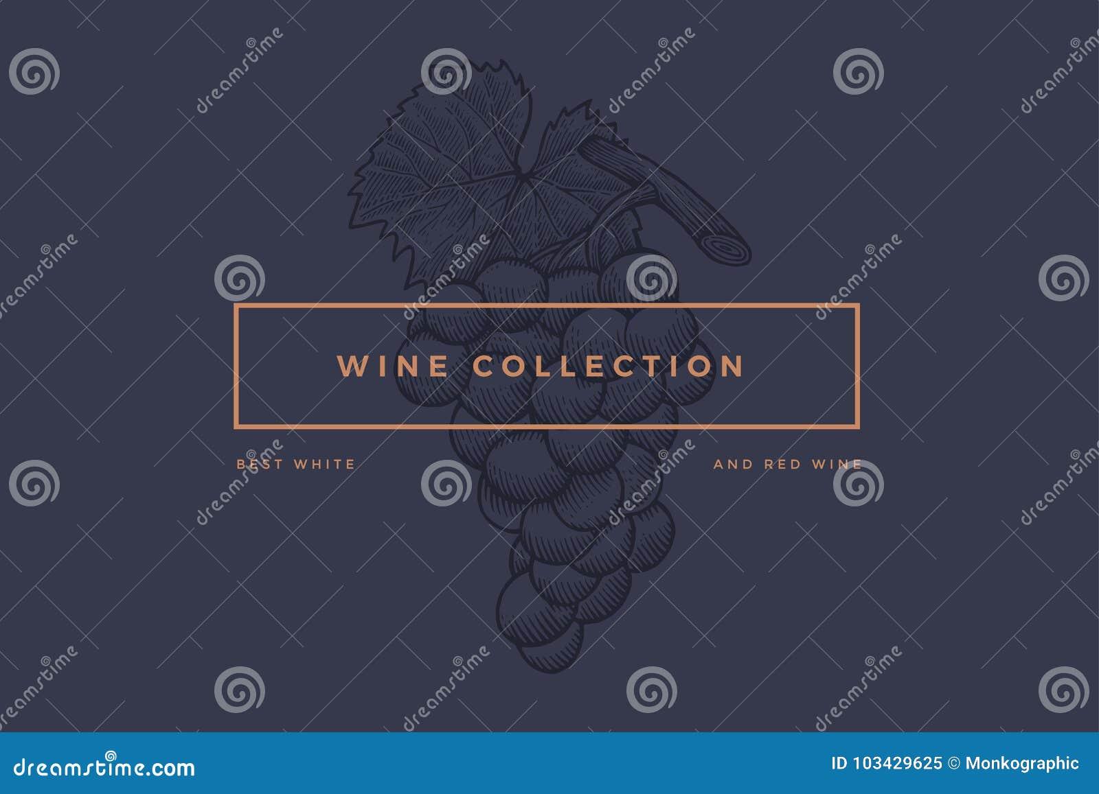 logo template for design of wine card booklet menu for restaurant