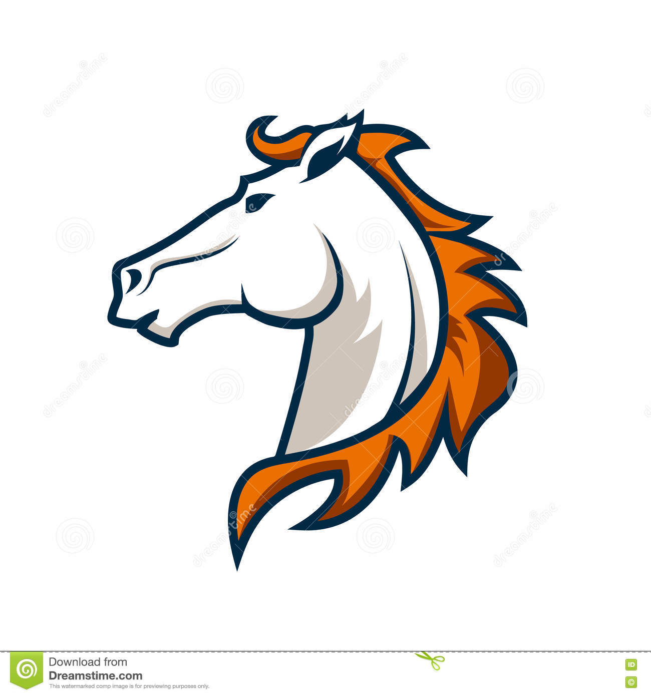 Logo Template With Horse Head Sport Team Logo Stock Vector