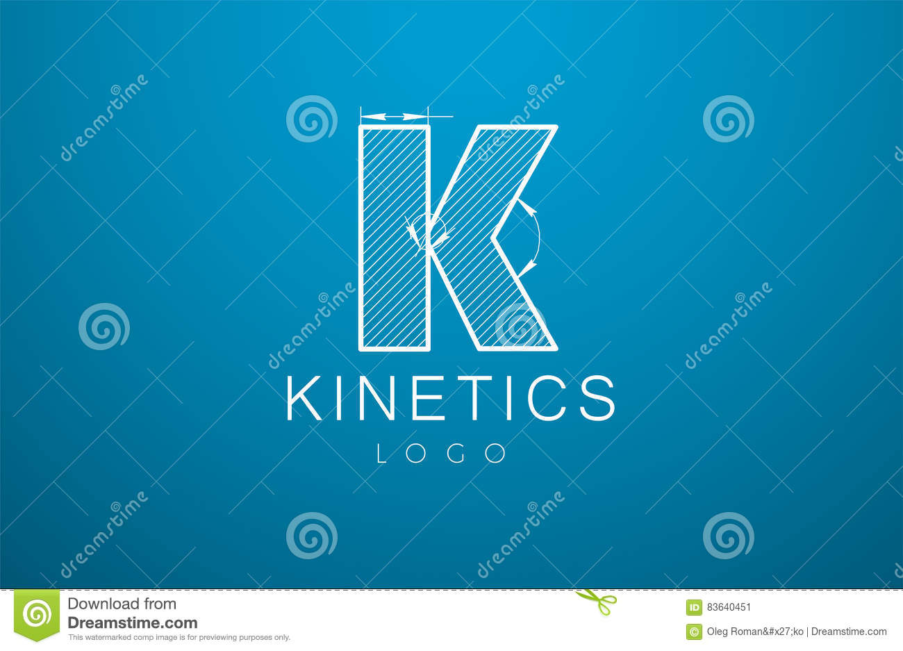 Logo Template Letter K In The Style Of A Technical Drawing  Stock