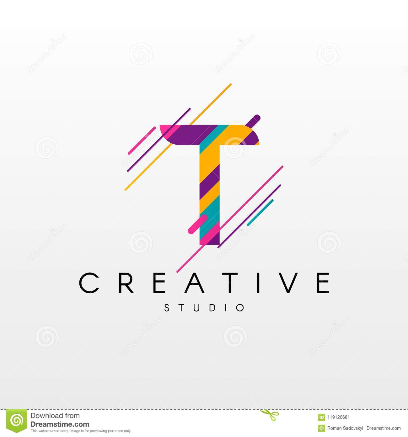 39a5cd5bd048a9 Letter T Logo. Abstract T letter design, made of various geometric shapes  in color.