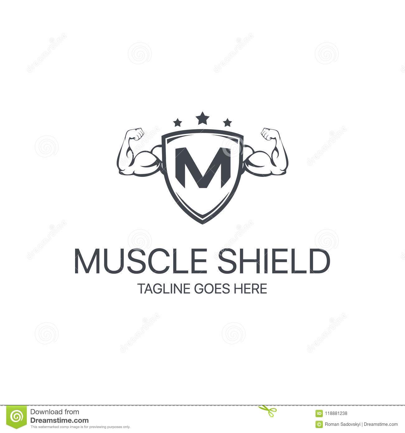 muscle shield logo stock vector illustration of concept 118881238