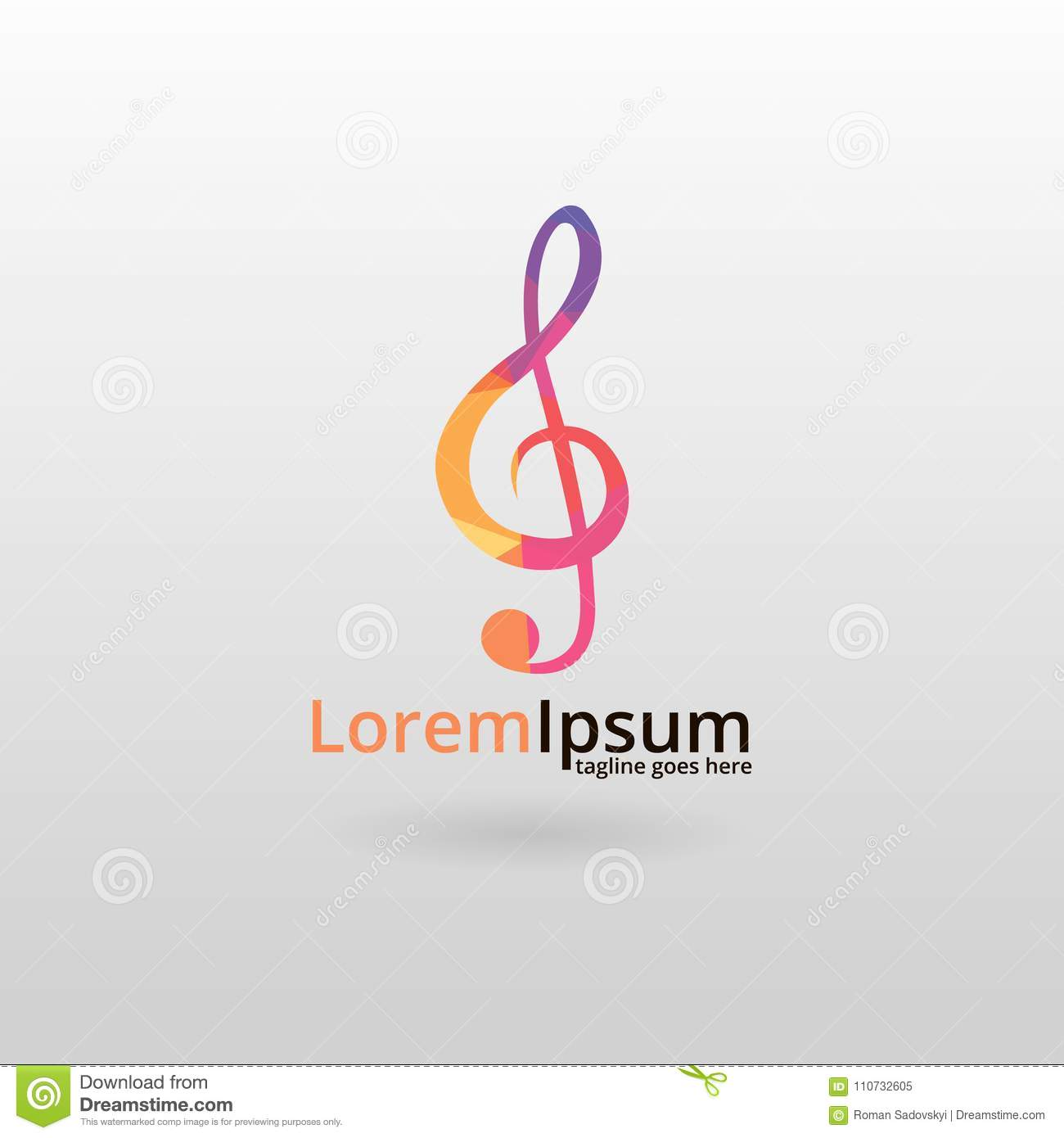 Music Logo  Logo Design, Made Of Various Geometric Shapes In