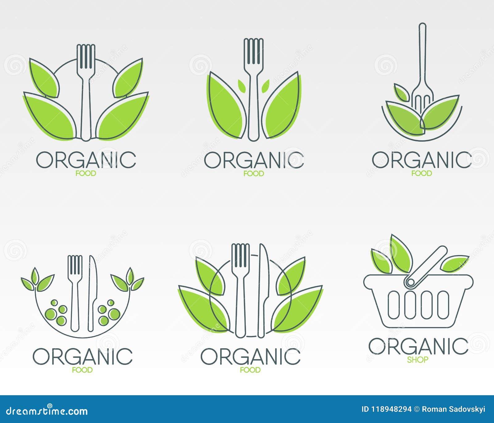 Organic Food Logos Set  Healthy Food Icon  Stock Vector