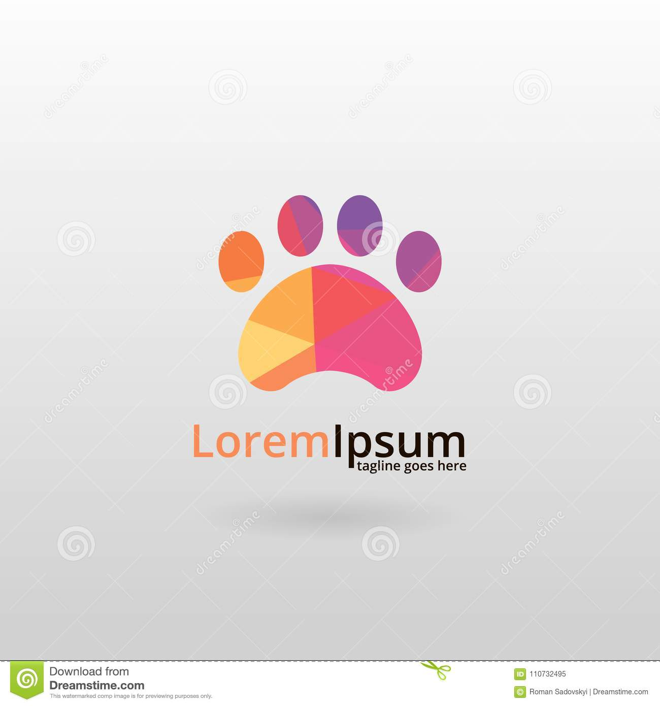 Paw Logo  Logo Design, Made Of Various Geometric Shapes In