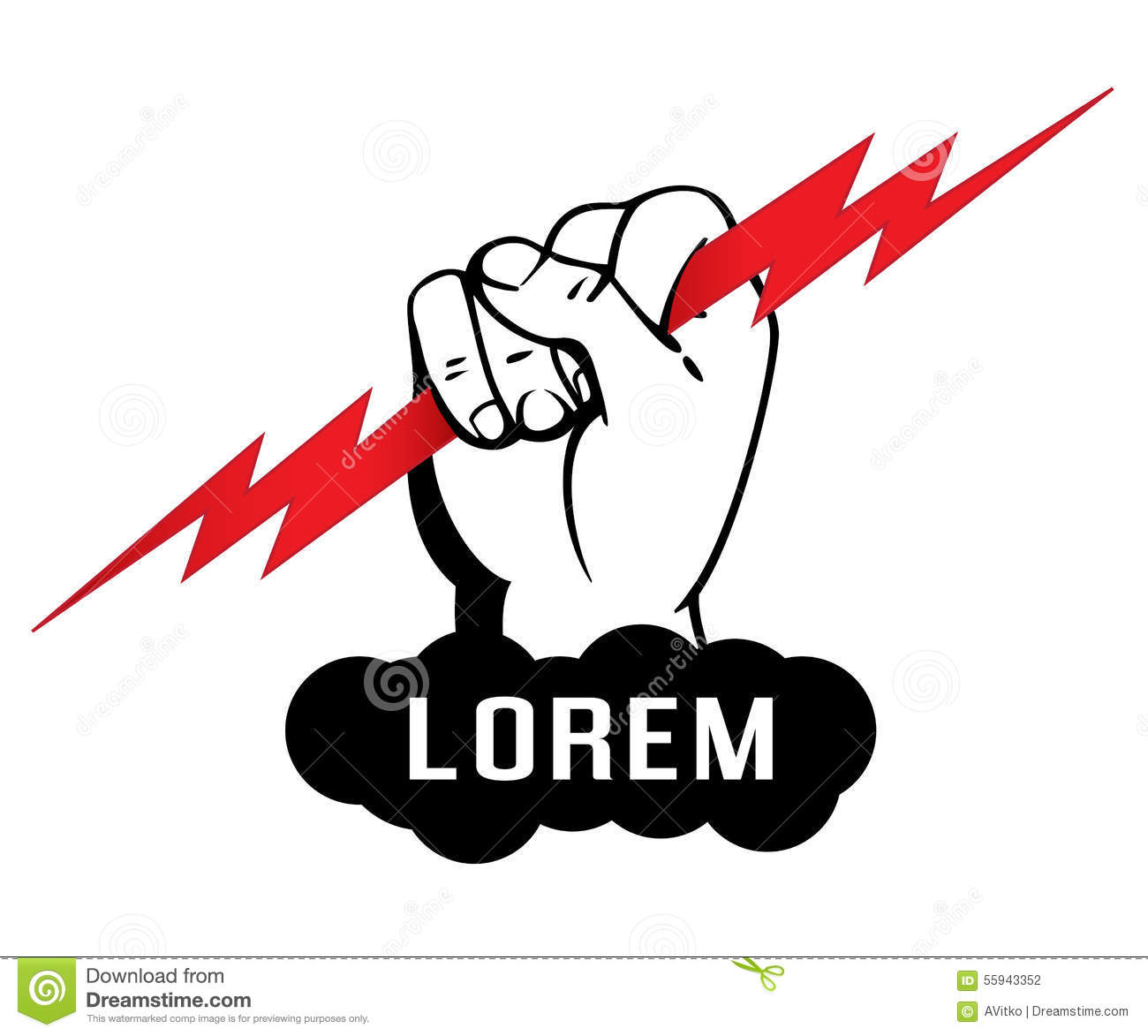 Logo Template, Zeus Arm, Hand Holding A Lighting Bolt ...