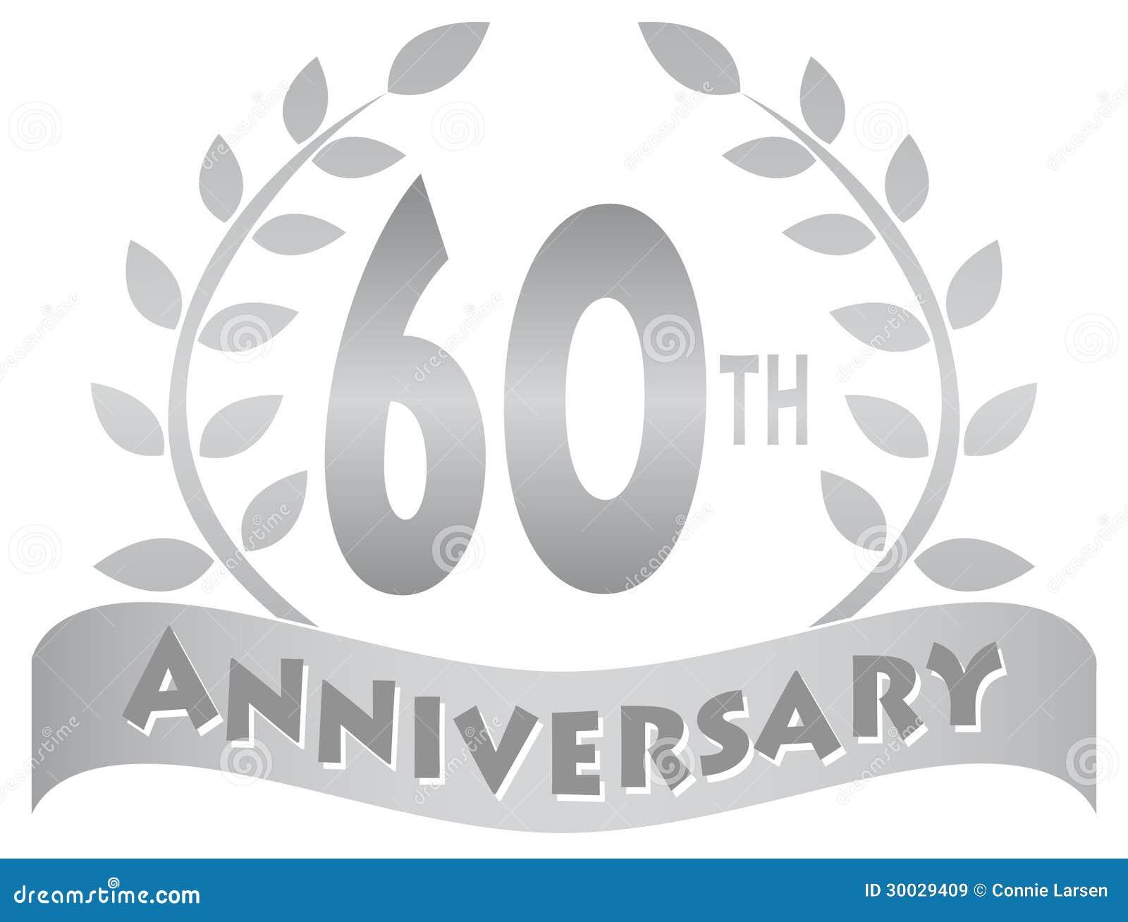 Sixtieth Anniversary Banner Eps Stock Vector