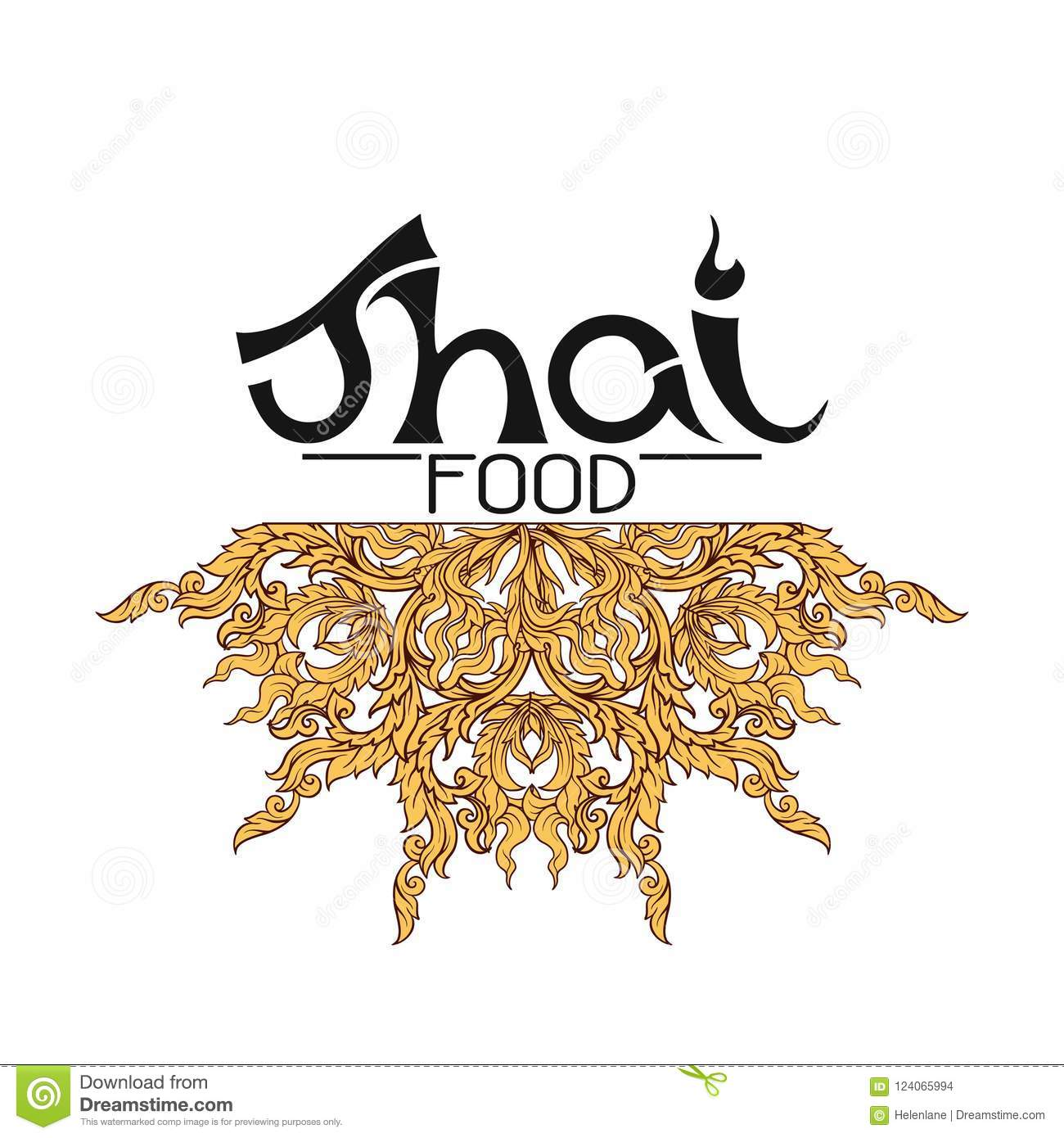 Logo For Thai Food Restaurantwith Traditional Thai Ornament Pa Stock Vector Illustration Of Logo Orient 124065994