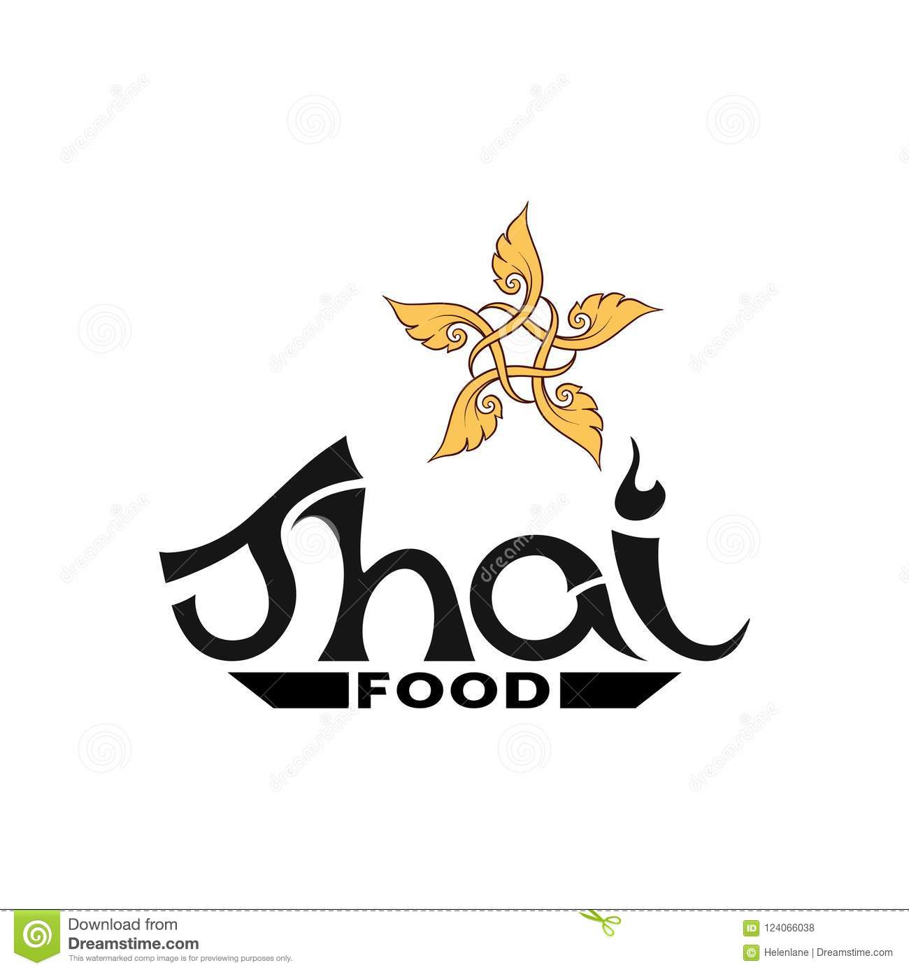 Logo For Thai Food Restaurantwith Traditional Thai Ornament Pa Stock Vector Illustration Of Label Element 124066038