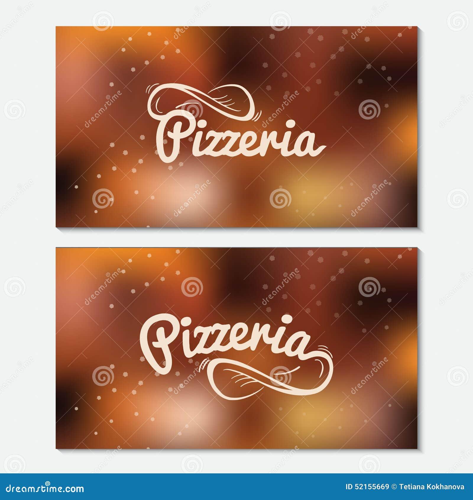 Logo Tire Par La Main De Lettrage Pizzeria Carte Visite Professionnelle