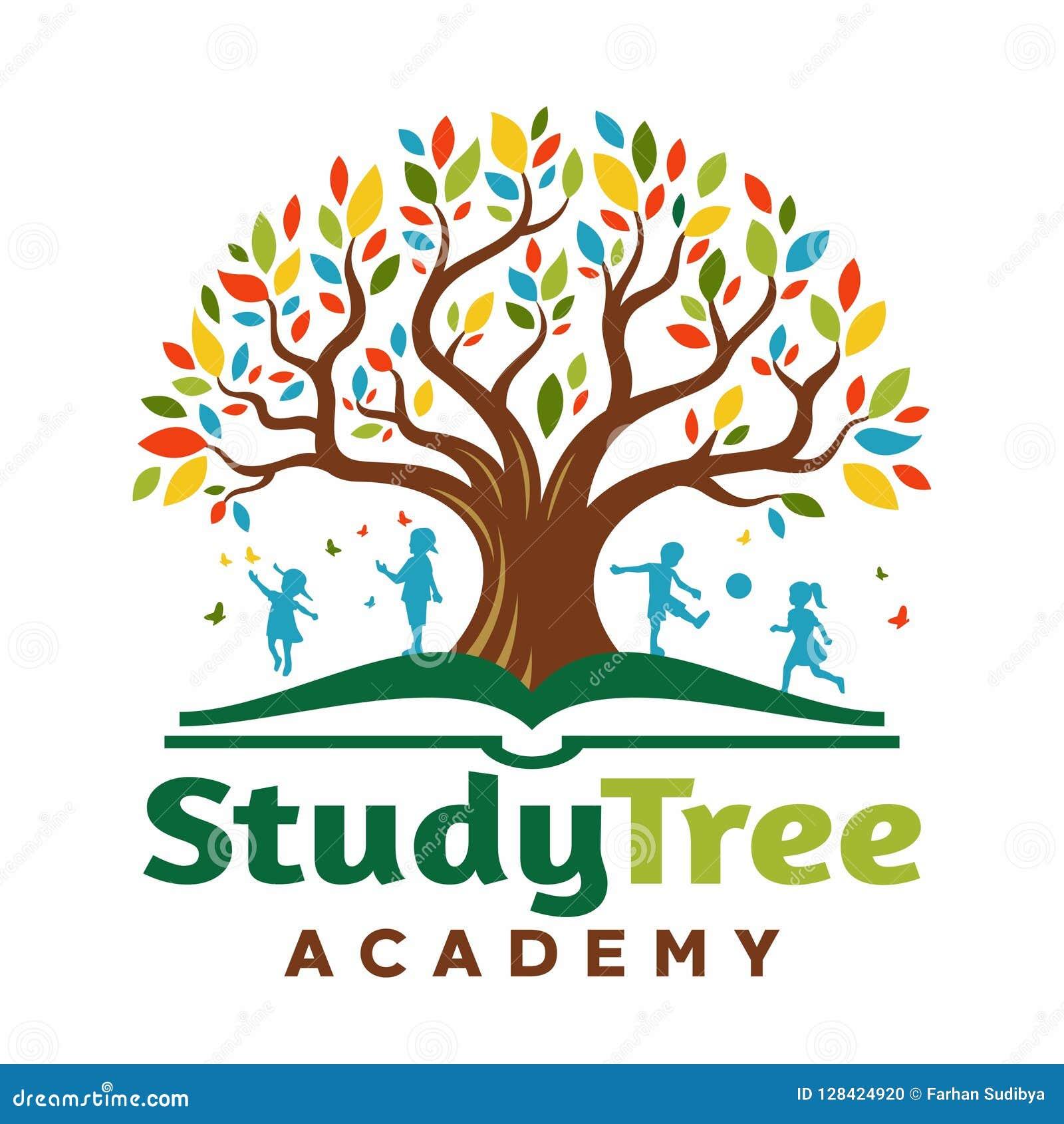 Logo Tree no livro com jogo das crianças