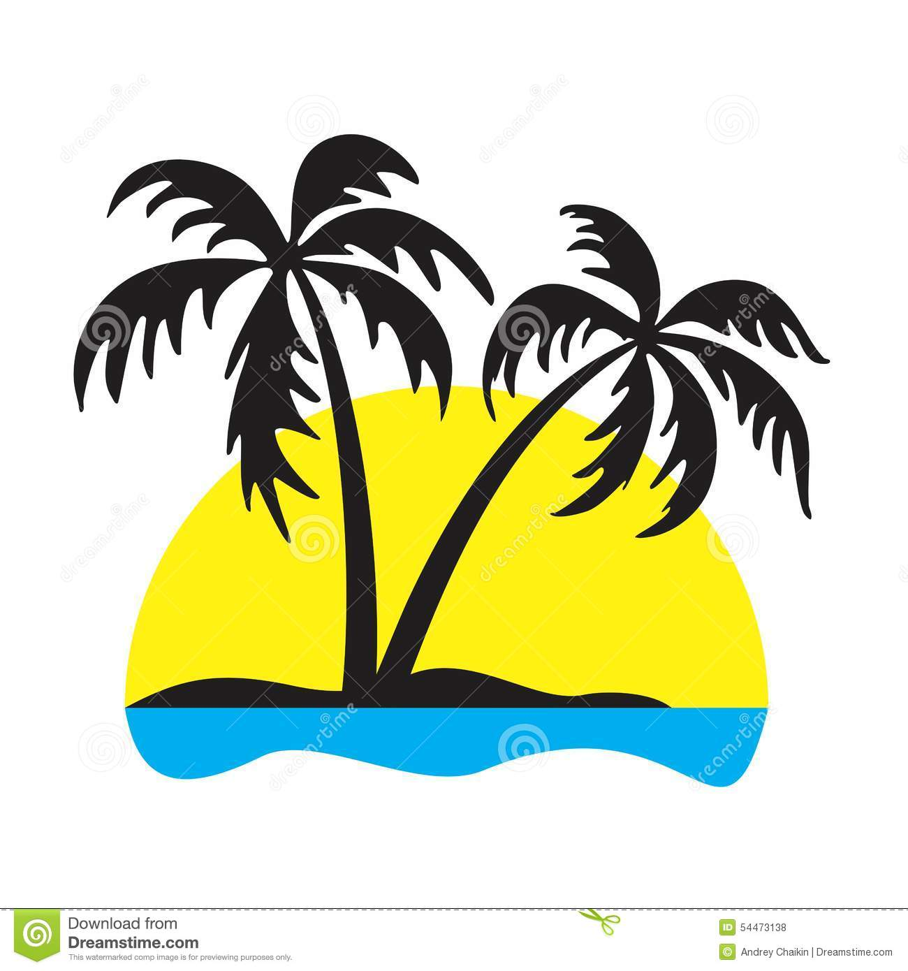 logo of the tropical island with palm trees and the seashore.