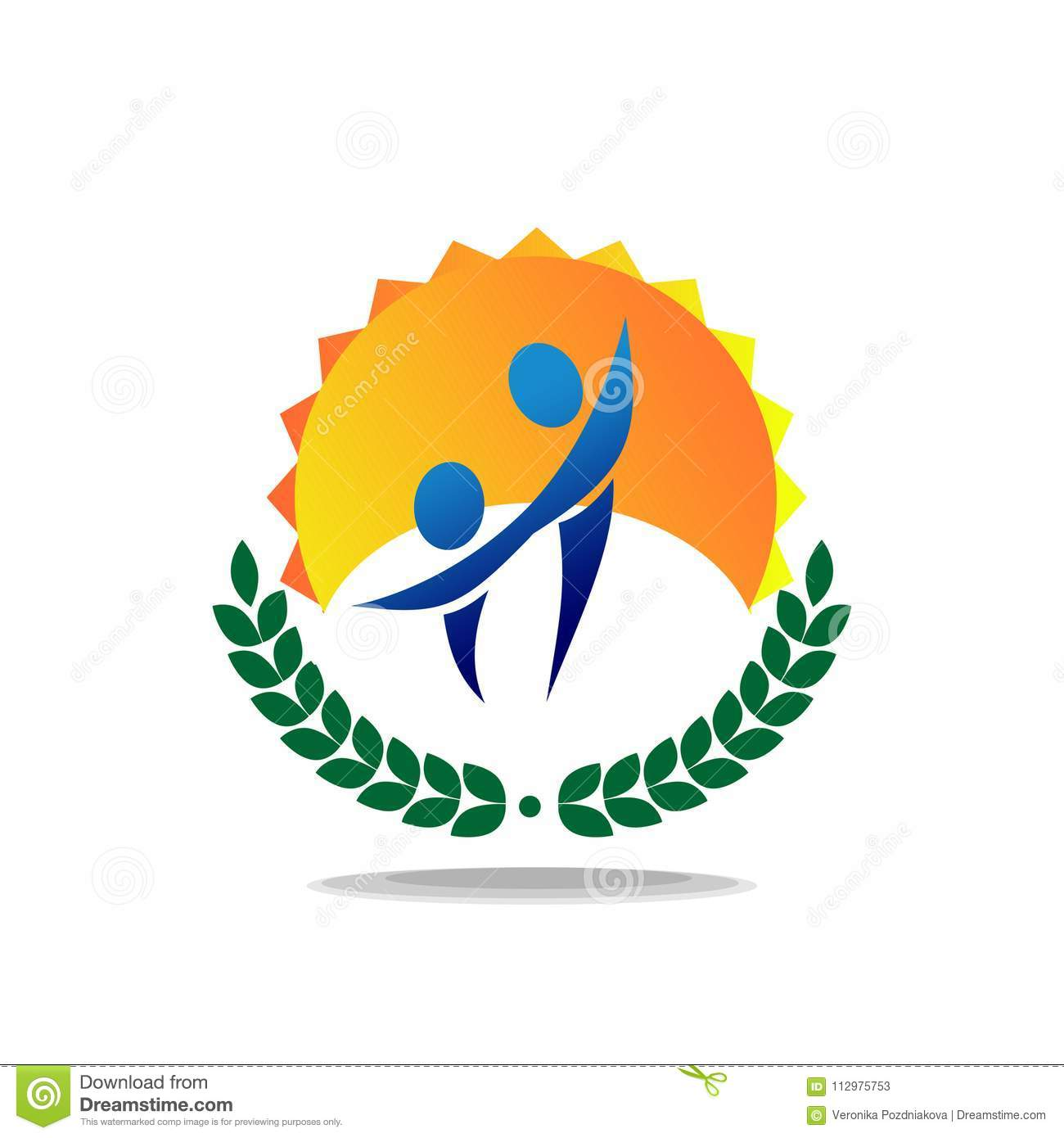 Logo of two people against the sun. Simple multicolored emblem.