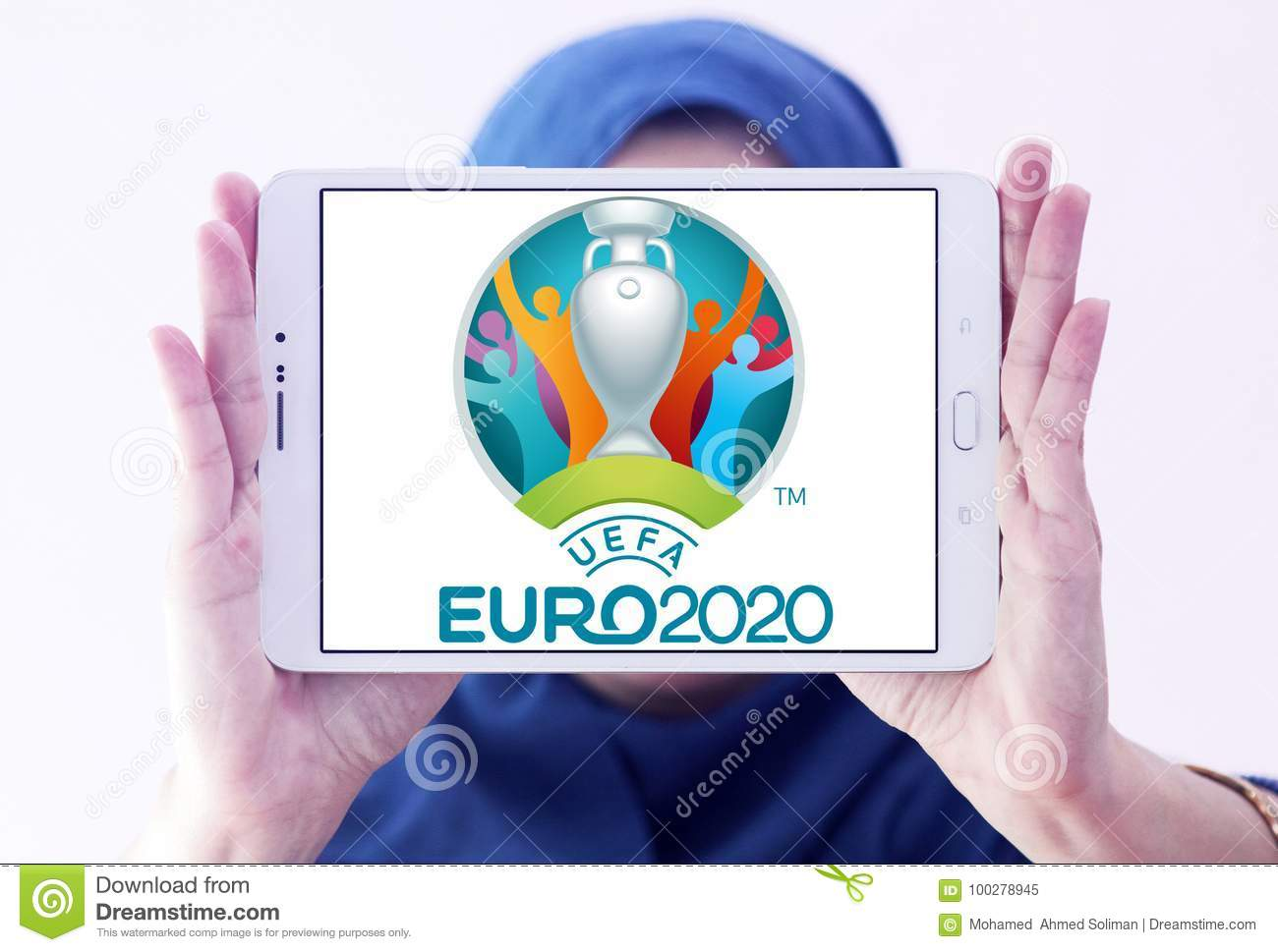 uefa euro 2020 logo editorial image image of motto 100278945 https www dreamstime com logo uefa euro samsung tablet holded arab muslim woman european football championship scheduled to be th edition image100278945