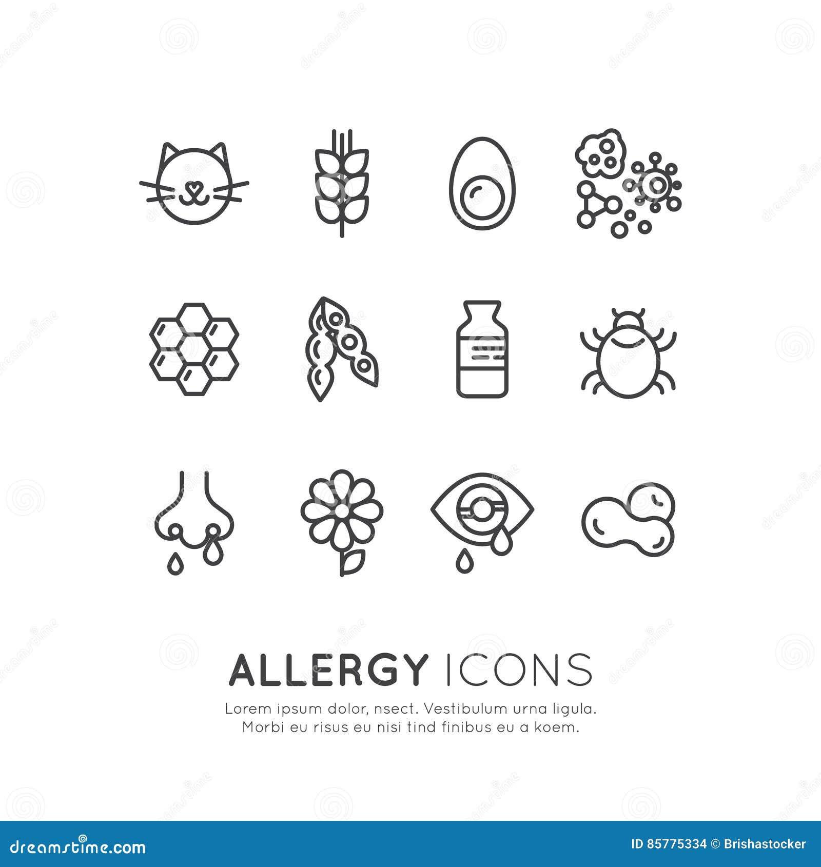 Logo Ustalona kolekcja alergii, Karmowej i Domowej choroba, zwierzę domowe nietolerancyjności, skóry reakci, oka i nosa,