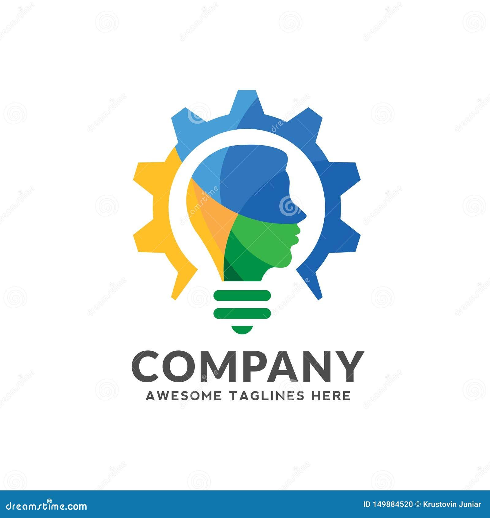 Logo variopinto che combina lampadina, ingranaggio con una progettazione capa umana