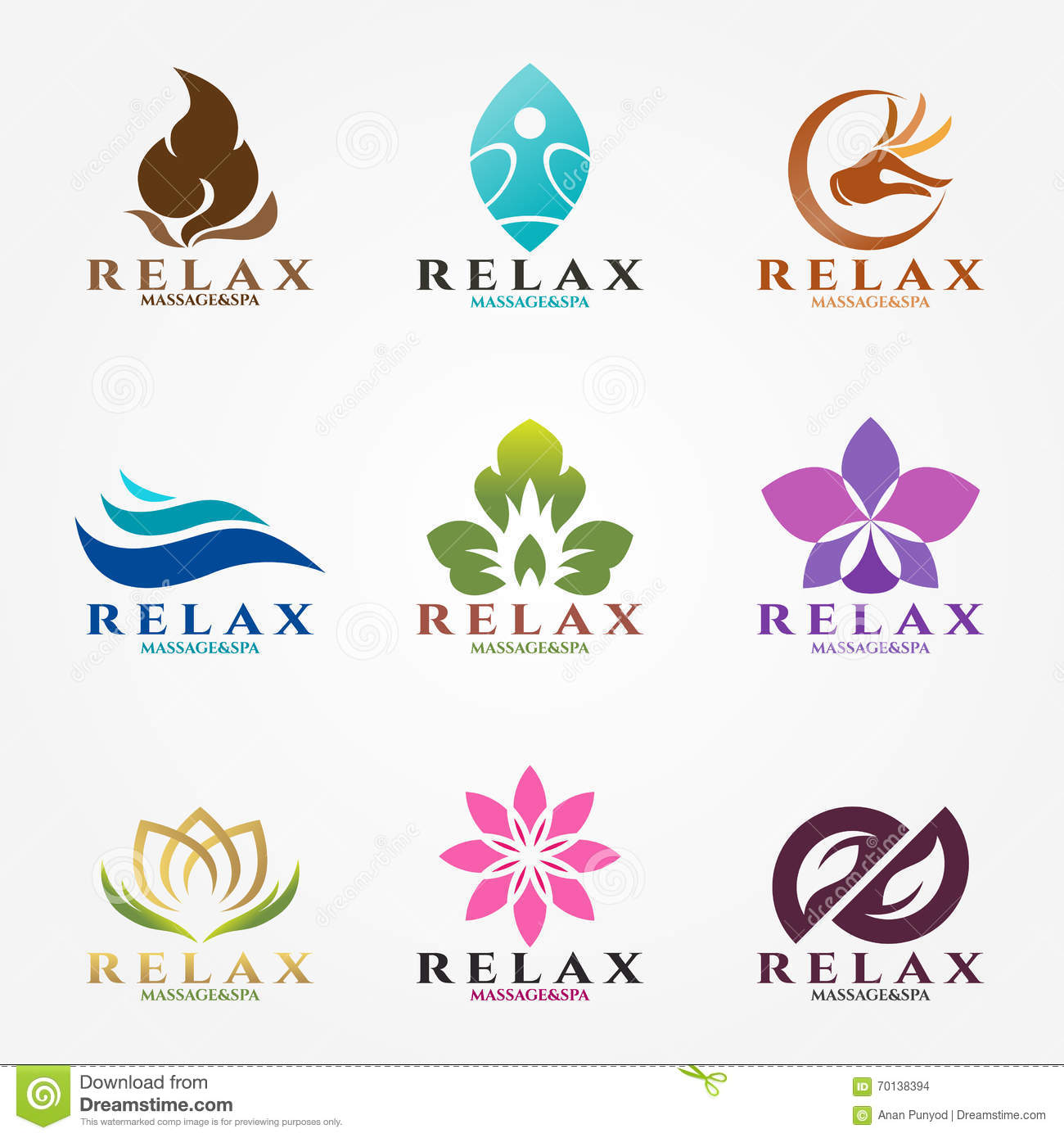Logo Vector Set Design For Massage And Spa Business Stock