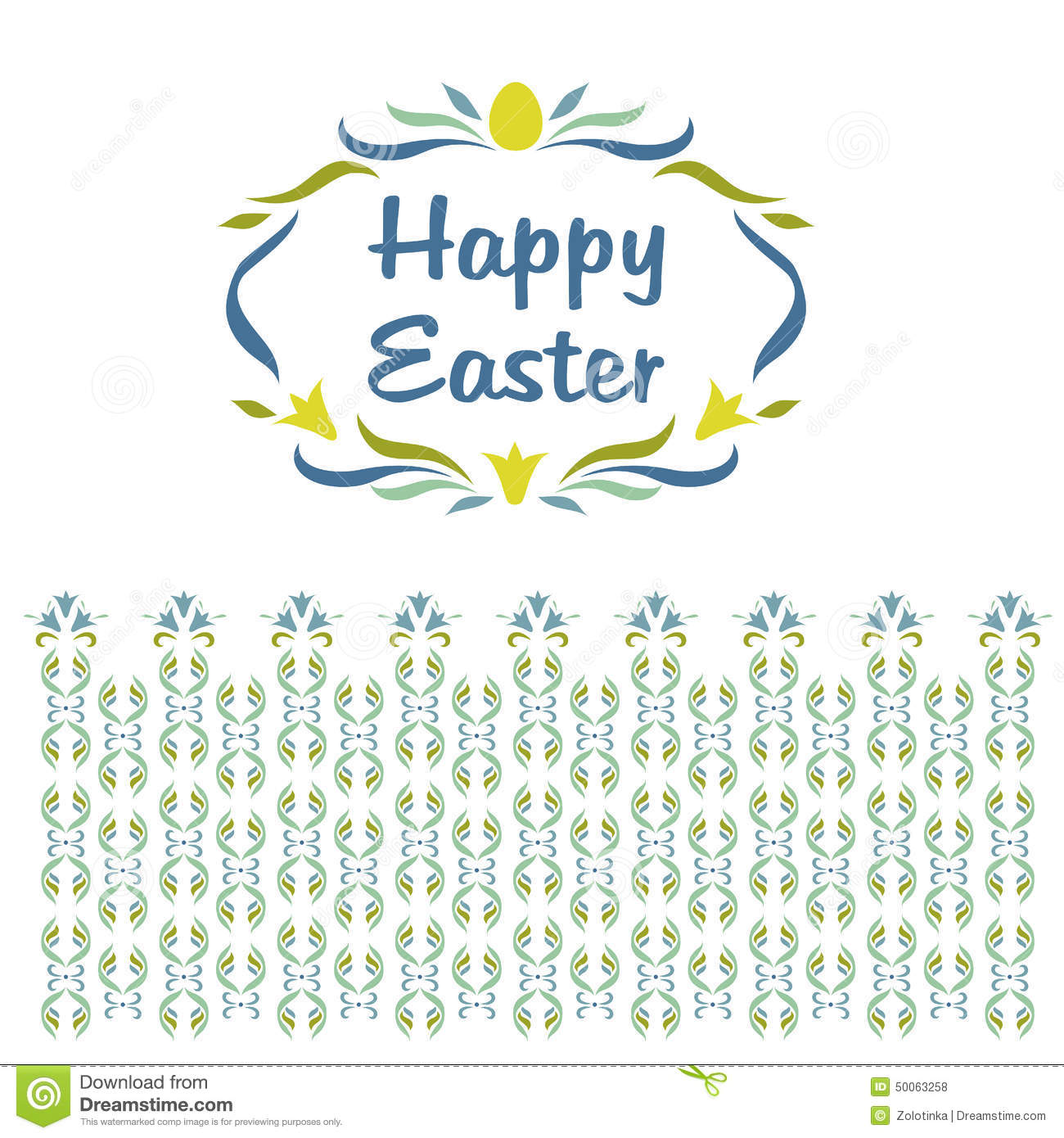 Logo, vignette with the words Happy Easter. Floral pattern shades of ...