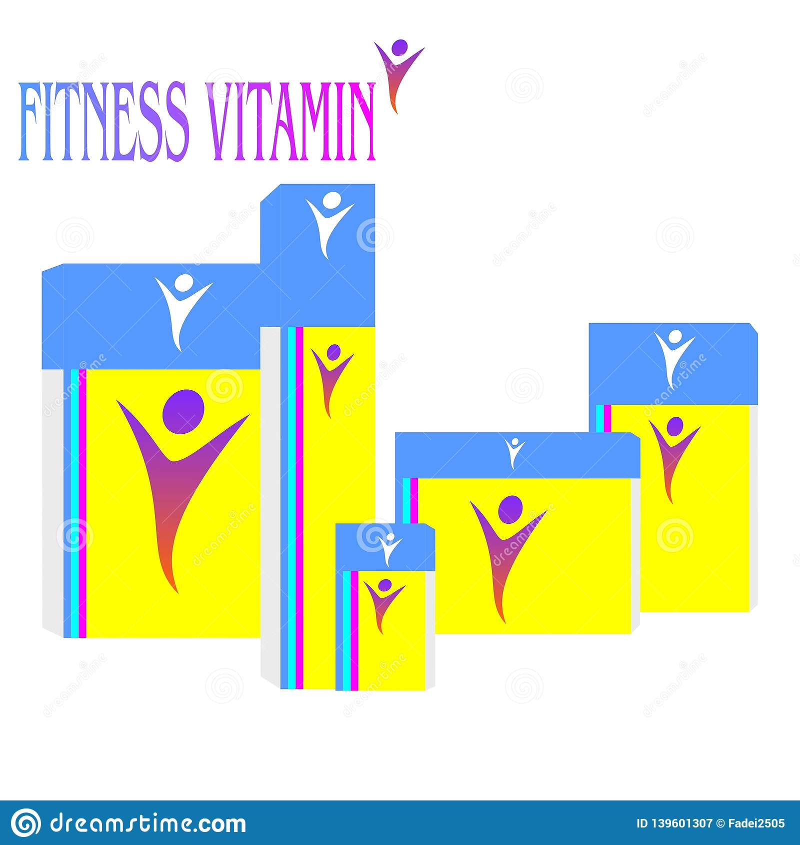 Logo.Fitness vitamins in the box.