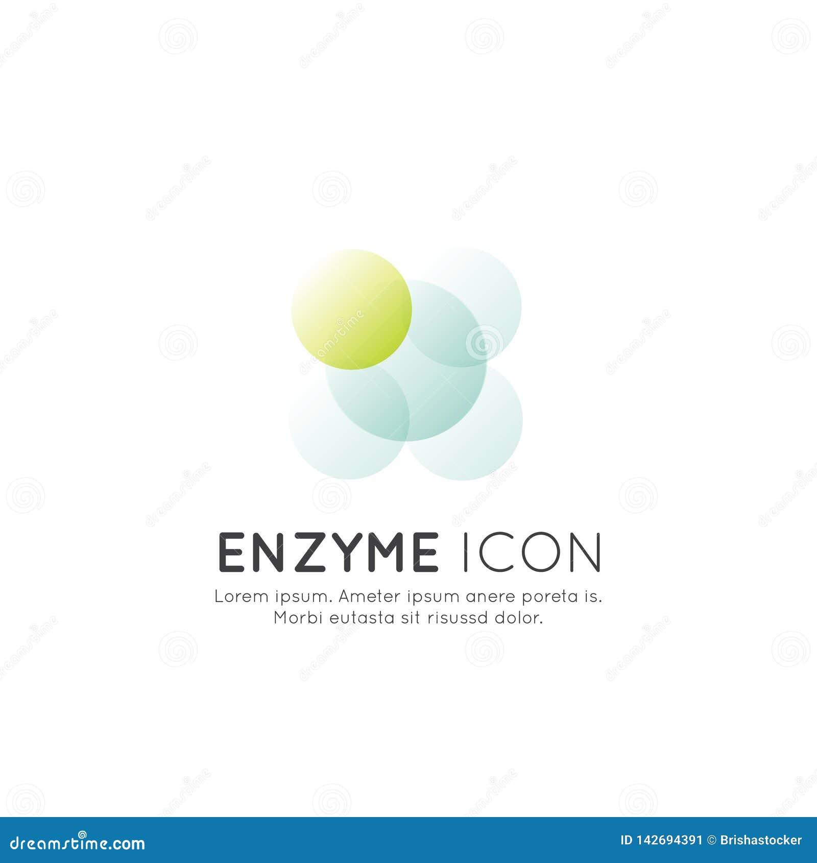 Logo von Nahrungsmittelergänzungen, -bestandteile und -vitamine und -elemente für Biopaketaufkleber - Enzym