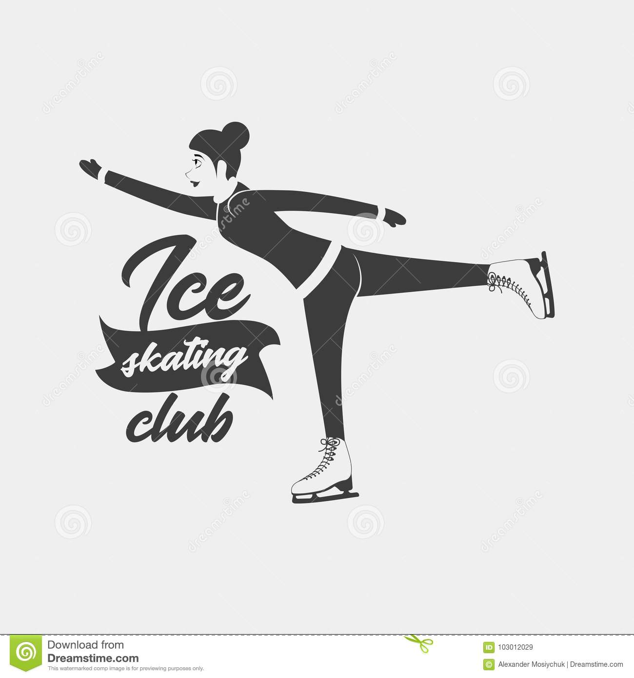 logo with a woman moving on ice skates stock vector illustration