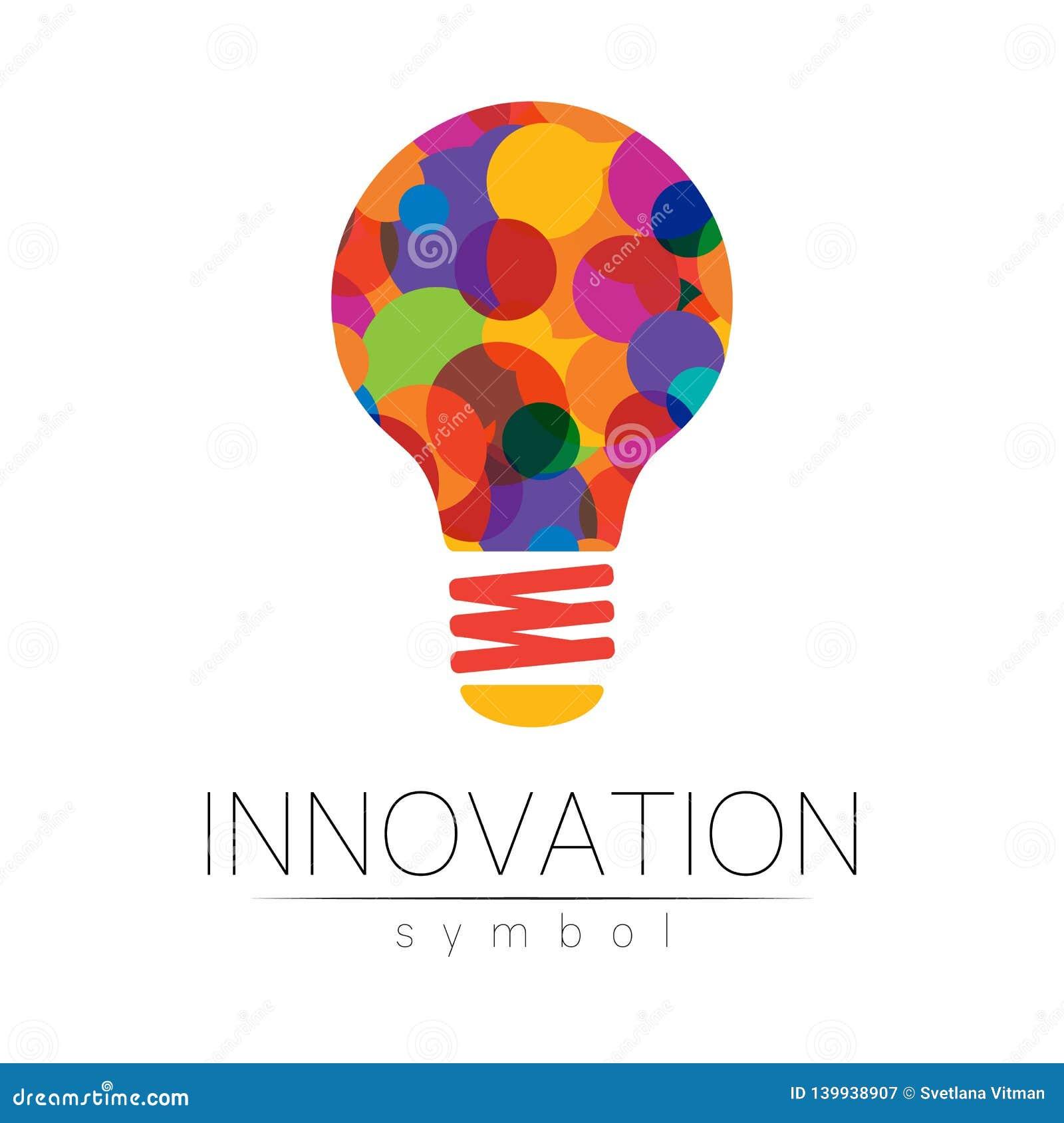 Logo znak innowacja w nauce Lampowy symbol dla pojęcia, biznes, technologia, kreatywnie pomysł, sieć Tęcza kolor