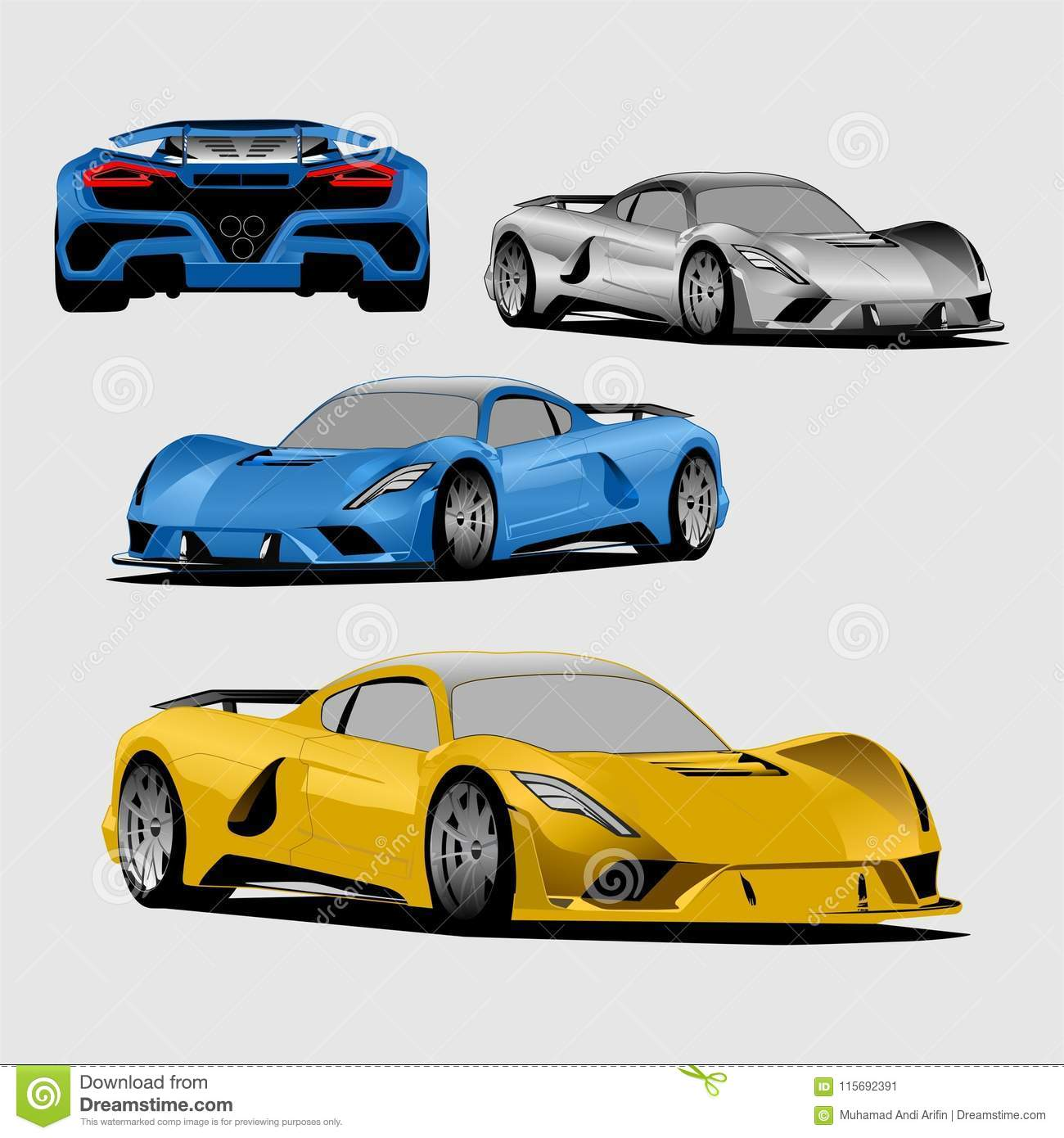 Blue Yellow And Gray Sport Car Full Colour Illustration Vector