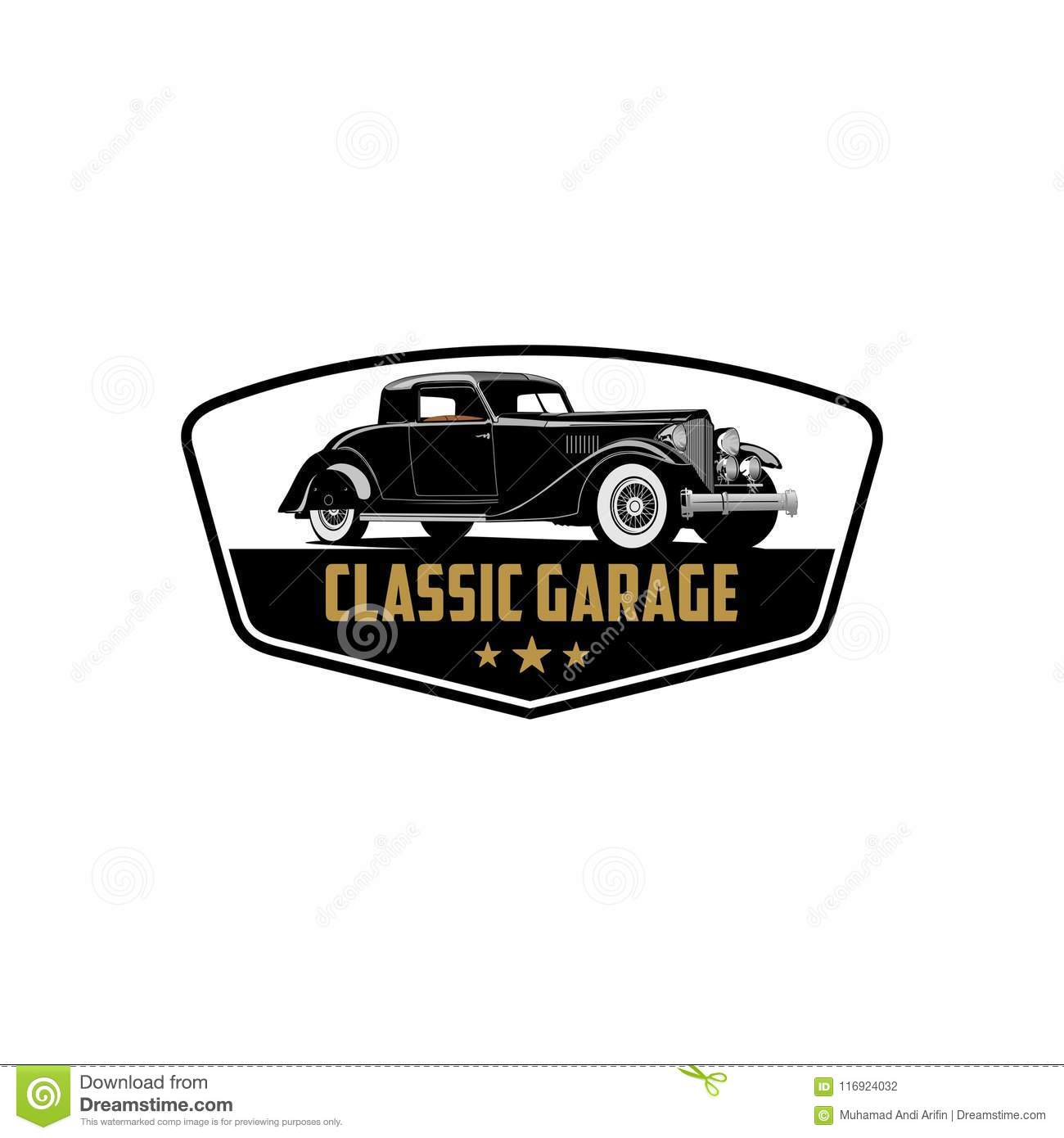Exclusive Classic Car Collection Repair And Garage Logo Vector Stock