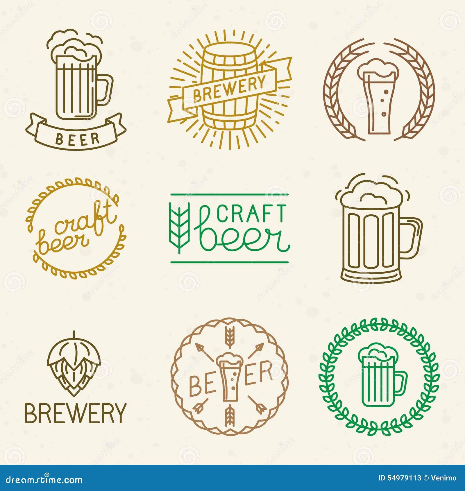 Logoer för för vektorhantverköl och bryggeri