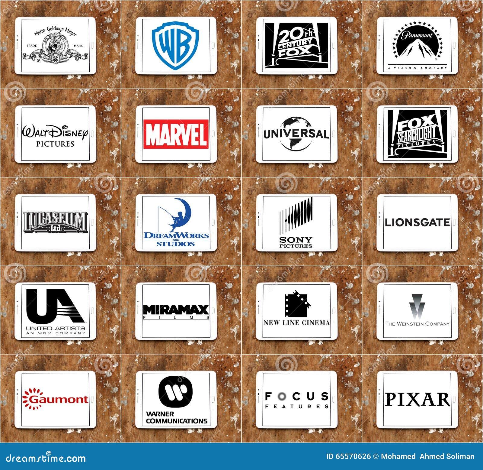 Logoer och vektor av bästa berömda filmstudior och productiocinematographynföretag