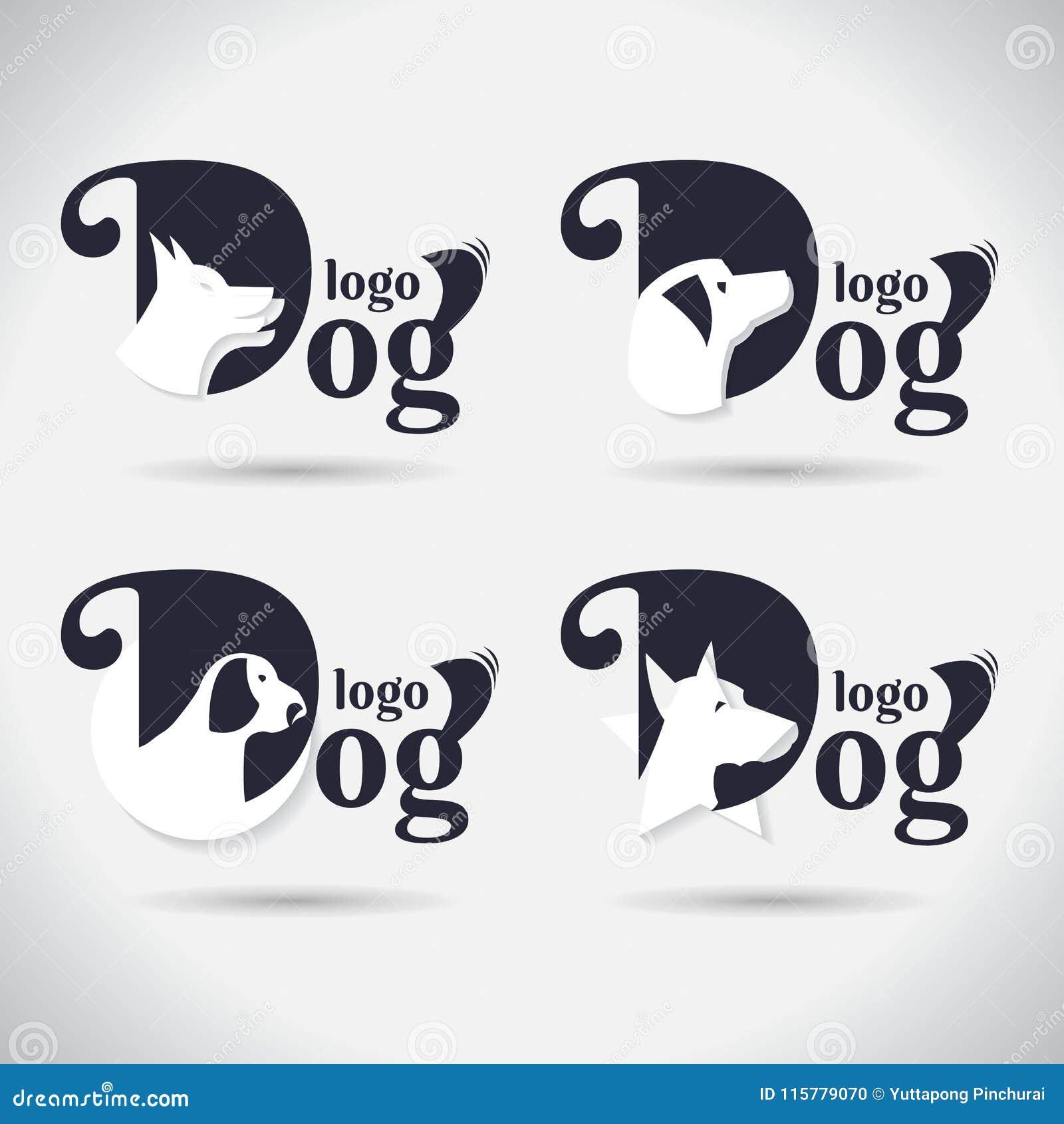 Logohundelogo Sammlung tier schriftkegel Freeform Symbol Auszug Auch im corel abgehobenen Betrag Auf weißem Hintergrund