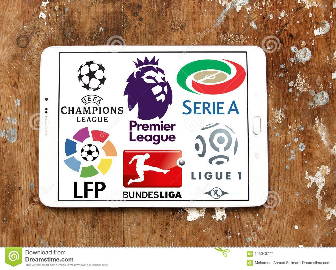 Soccer leagues icons logos editorial photography  Image of