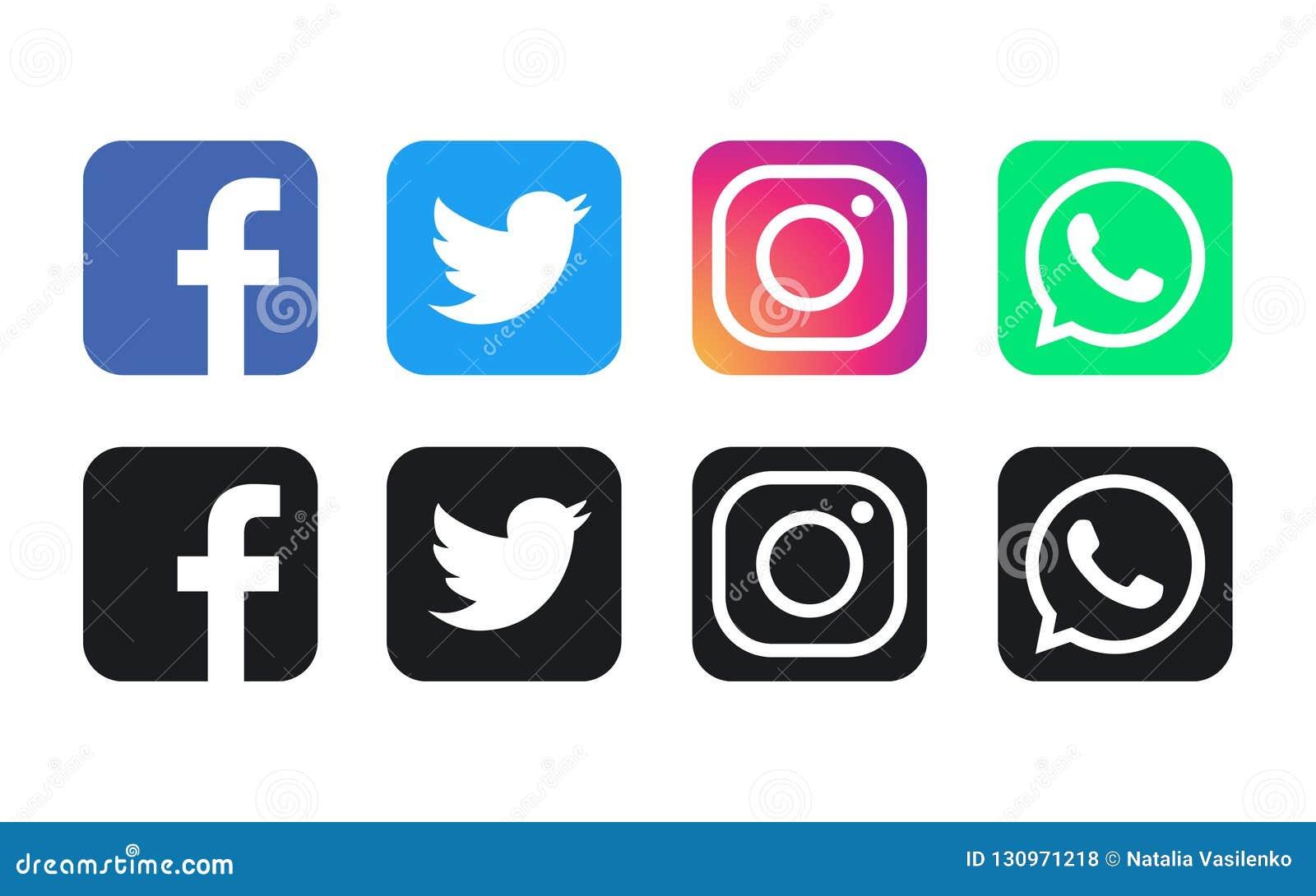 Logos de Facebook, de WhatsApp, de Twitter et d Instagram