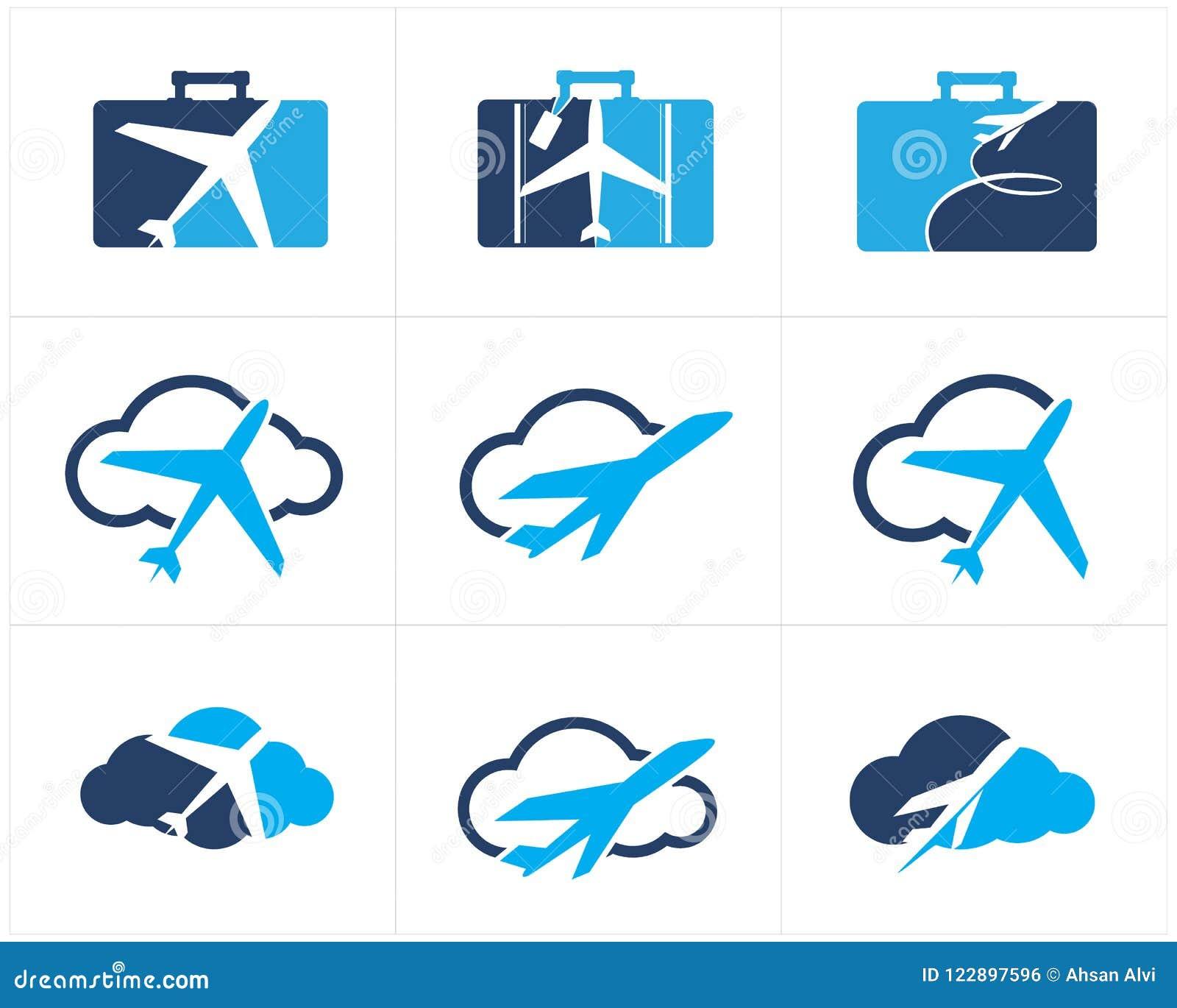 Logos de voyage scénographie, avion dans la maison, coeur et nuage, icônes de vecteur de tourisme