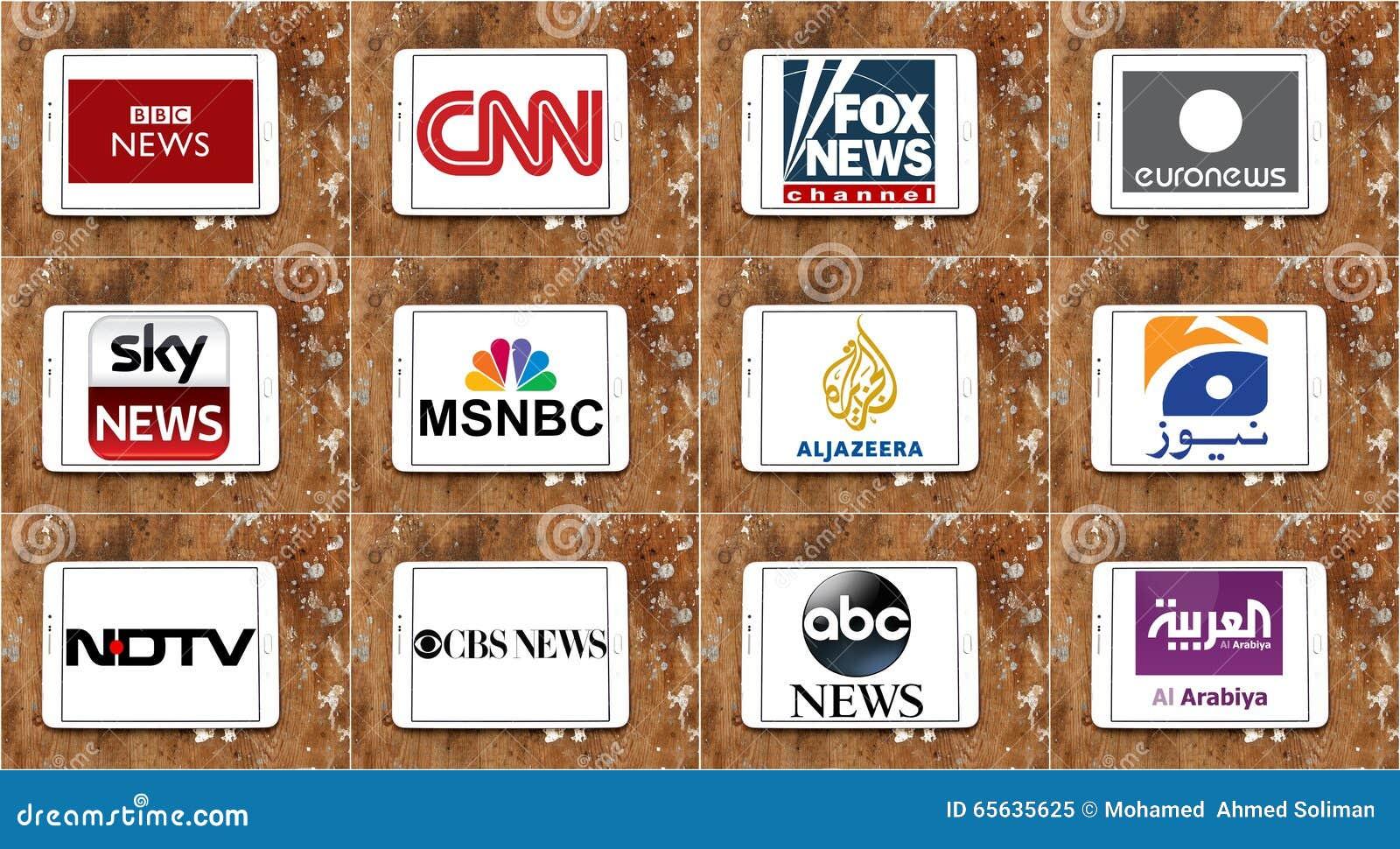 Logos des chaînes d information célèbres supérieures et des réseaux de TV