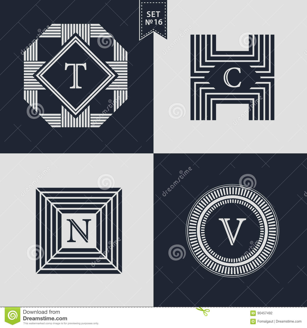 654a464134d13e Logos Design Templates Set. Logotypes elements collection, Icons Symbols,  Retro Labels, Badges, Silhouettes. Abstract logo, Letter T, C, N, V emblems.