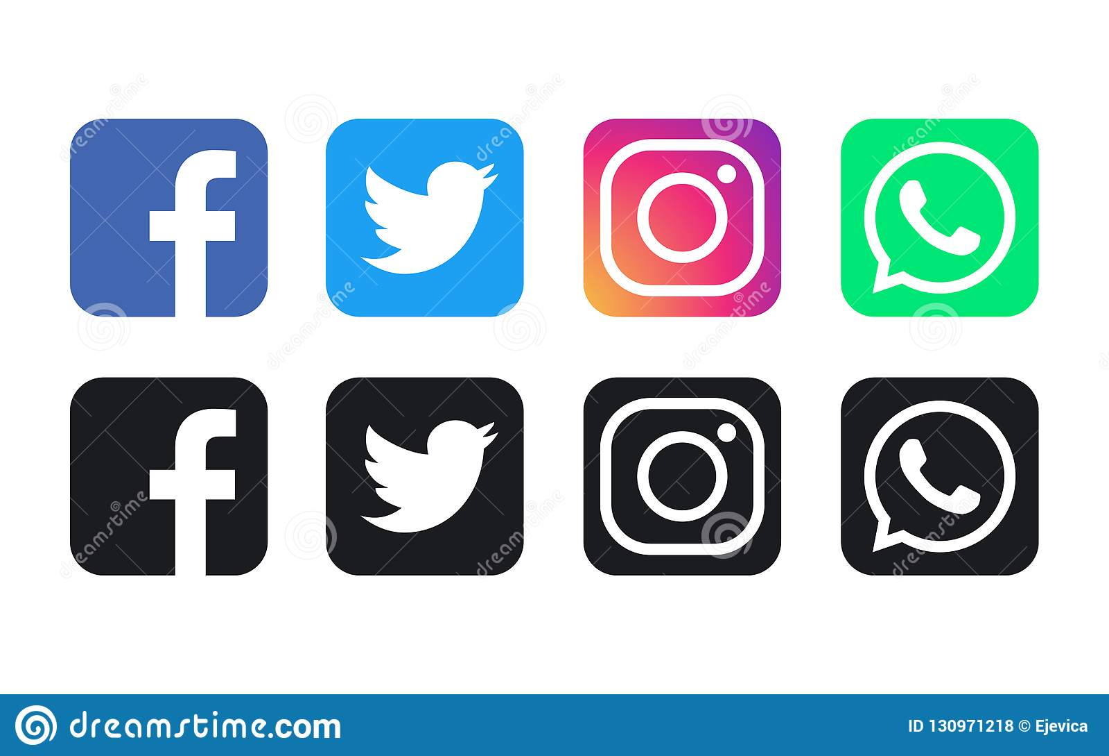 Logos di Facebook, di WhatsApp, di Twitter e di Instagram